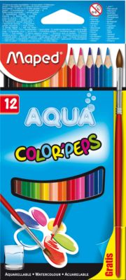 Карандаши акварель COLOR PEP'S AQUA, 12 цветов, MAPED