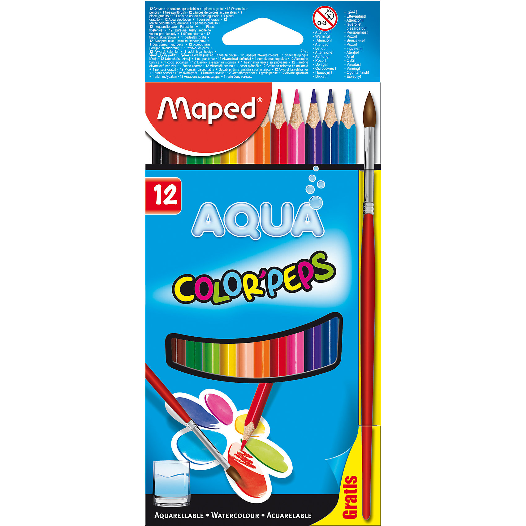 Карандаши акварель COLOR PEPS AQUA, 12 цветов, MAPEDПисьменные принадлежности<br>Карандаши акварель COLOR PEPS AQUA, 12 цветов, MAPED (МАПЕД).<br><br>Характеристики:<br><br>• Для детей в возрасте: от 3 лет<br>• В наборе: 12 акварельных карандашей, кисть для рисования<br>• Количество цветов: 12<br>• Длина карандаша: 17,5 см.<br>• Диаметр карандаша: 7 мм.<br>• Диаметр грифеля: 2,9 мм.<br>• Изготовлены из древесины американской липы<br>• Упаковка: картонный блистер<br>• Размер упаковки: 203х95х8 мм.<br>• Вес: 74 гр.<br><br>Набор акварельных карандашей Aqua Color Peps идеален для рисования и раскрашивания. В наборе 12 акварельных карандашей, ярких насыщенных цветов и кисточка. Карандашами можно рисовать как обычными цветными, а для создания эффекта акварели, необходимо провести мокрой кисточкой по рисунку. Карандаши имеют мягкий, ударопрочный грифель. Эргономичная треугольная форма позволяет легко и удобно держать карандаш в руке даже самым маленьким. Карандаши не трескаются и легко затачиваются. Корпус карандашей изготовлен из древесины американской липы.<br><br>Карандаши акварель COLOR PEPS AQUA, 12 цветов, MAPED (МАПЕД) можно купить в нашем интернет-магазине.<br><br>Ширина мм: 206<br>Глубина мм: 93<br>Высота мм: 70<br>Вес г: 87<br>Возраст от месяцев: 36<br>Возраст до месяцев: 2147483647<br>Пол: Унисекс<br>Возраст: Детский<br>SKU: 5530025
