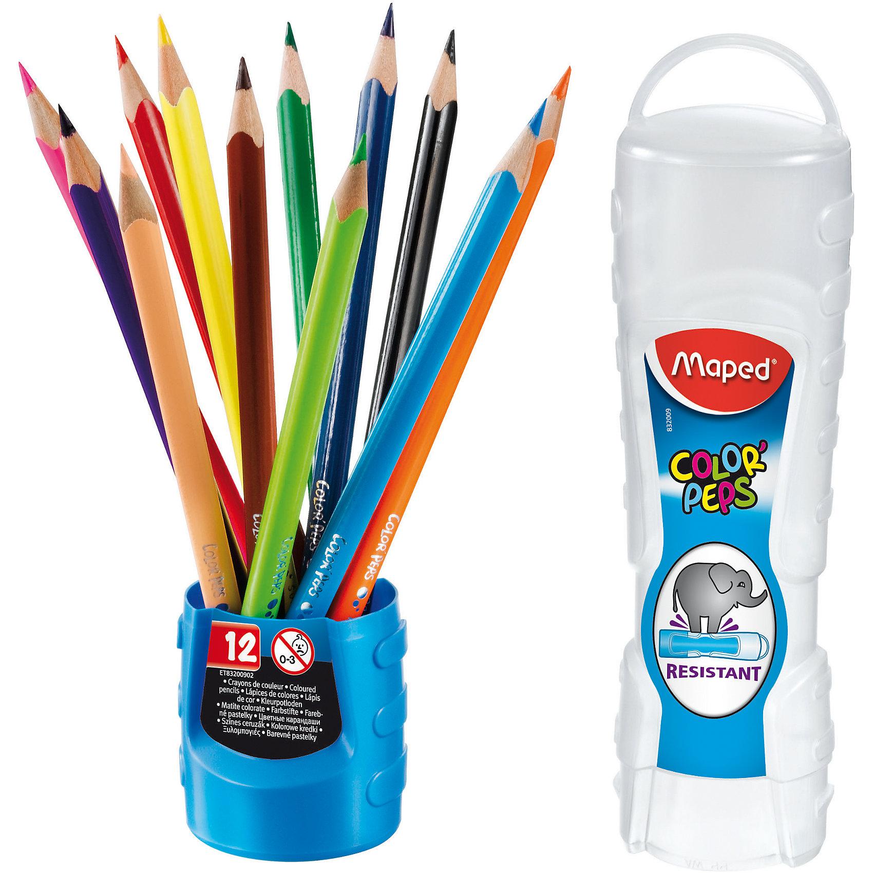 Карандаши цветные COLORPEPS, треугольные, 12 цветов, MAPEDРисование<br>Карандаши цветные COLORPEPS, треугольные, 12 цветов, MAPED (МАПЕД).<br><br>Характеристики:<br><br>• Для детей в возрасте: от 3 лет<br>• В наборе: 12 карандашей<br>• Количество цветов: 12<br>• Длина карандаша: 17,5 см.<br>• Диаметр карандаша: 7 мм.<br>• Диаметр грифеля: 2,9 мм.<br>• Изготовлены из древесины американской липы<br>• Упаковка: пластиковый пенал-тубус<br>• Размер упаковки: 202х45х45 мм.<br>• Вес: 78 гр.<br><br>Набор цветных карандашей Color Peps идеален для раскрашивания и рисования. Набор содержит 12 карандашей, ярких насыщенных цветов. Карандаши имеют мягкий, ударопрочный грифель.Эргономичная треугольная форма позволяет легко и удобно держать карандаш в руке даже самым маленьким. Карандаши не трескаются и легко затачиваются. Корпус карандашей изготовлен из древесины американской липы. Карандаши упакованы в удобный ударопрочный пенал-тубус, который компактно размешается в школьном ранце, а при необходимости легко превращается в стаканчик для карандашей.<br><br>Карандаши цветные COLORPEPS, треугольные, 12 цветов, MAPED (МАПЕД) можно купить в нашем интернет-магазине.<br><br>Ширина мм: 202<br>Глубина мм: 48<br>Высота мм: 470<br>Вес г: 99<br>Возраст от месяцев: 36<br>Возраст до месяцев: 2147483647<br>Пол: Унисекс<br>Возраст: Детский<br>SKU: 5530026