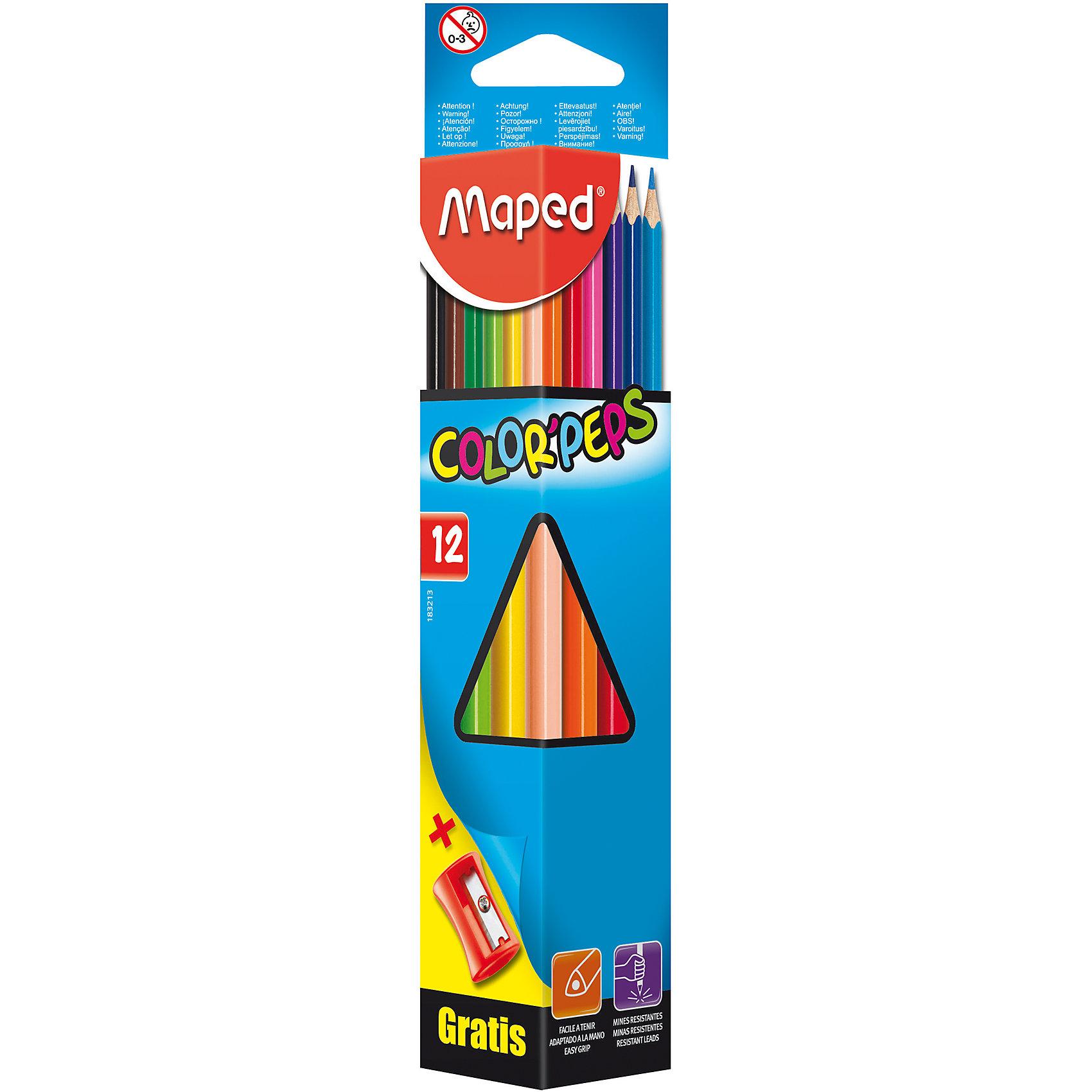 Карандаши цветные COLORPEPS, треугольные+точилка, 12 цветов, MAPEDПисьменные принадлежности<br>Карандаши цветные COLORPEPS, треугольные+точилка, 12 цветов, MAPED (МАПЕД).<br><br>Характеристики:<br><br>• Для детей в возрасте: от 3 лет<br>• В наборе: 12 карандашей, точилка Vivo с 1 отверстием<br>• Количество цветов: 12<br>• Длина карандаша: 17,5 см.<br>• Диаметр карандаша: 7 мм.<br>• Диаметр грифеля: 2,9 мм.<br>• Изготовлены из древесины американской липы<br>• Упаковка: картонный футляр треугольной формы с окошком<br>• Размер упаковки: 230х51х32 мм.<br>• Вес: 72 гр.<br><br>Набор цветных карандашей Color Peps идеален для раскрашивания и рисования. Набор содержит 12 карандашей, ярких насыщенных цветов и точилку Vivo с 1 отверстием. Карандаши имеют мягкий, ударопрочный грифель. Эргономичная треугольная форма позволяет легко и удобно держать карандаш в руке даже самым маленьким. Карандаши не трескаются и легко затачиваются. Корпус карандашей изготовлен из древесины американской липы. Набор соответствует самым высоким европейским стандартам качества.<br><br>Карандаши цветные COLORPEPS, треугольные+точилка, 12 цветов, MAPED (МАПЕД) можно купить в нашем интернет-магазине.<br><br>Ширина мм: 230<br>Глубина мм: 51<br>Высота мм: 51<br>Вес г: 86<br>Возраст от месяцев: 36<br>Возраст до месяцев: 2147483647<br>Пол: Унисекс<br>Возраст: Детский<br>SKU: 5530027