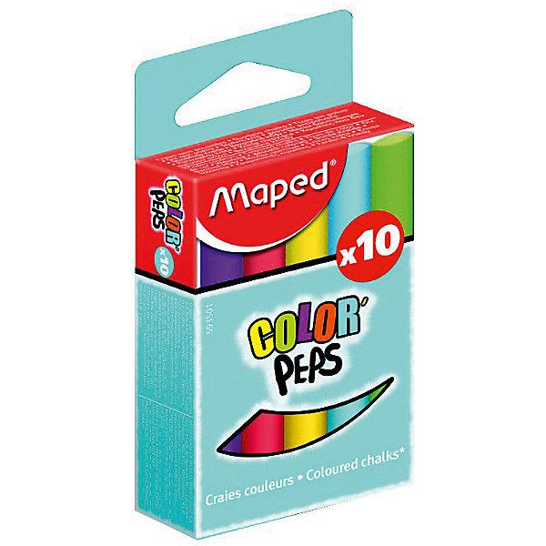 Мел COLOR`PEPS цветной, для детей, 10 цветов, MAPEDМелки для асфальта<br>Мел COLOR`PEPS цветной, для детей, 10 цветов, MAPED (МАПЕД).<br><br>Характеристики:<br><br>• Для детей в возрасте: от 3 лет<br>• В наборе: 10 цветных мелков<br>• Цвета: синий, голубой, ультрафиолет, розовый, красный, оранжевый, желтый, салатовый, зеленый, коричневый<br>• Длина мелка: 8 см.<br>• Диаметр мелка: 1 см.<br>• Упаковка: картонная коробка с европодвесом<br>• Размер упаковки: 10 х 5 х 2 см.<br>• Вес: 105 гр.<br><br>Цветной мел Color Peps от MAPED (МАПЕД) идеально подойдет для детского художественного творчества. В наборе 10 мелков, ярких насыщенных цветов. Мелки легко и мягко пишут, не крошатся. Не пачкают руки и оставляют минимум пыли. Круглая форма позволяет чертить и рисовать без напряжения руки. Высокая прочность и премиальное качество. Специальная формула без грязи. Товар соответствует требованиям безопасности продукции.<br><br>Мел COLOR`PEPS цветной, для детей, 10 цветов, MAPED (МАПЕД) можно купить в нашем интернет-магазине.<br><br>Ширина мм: 104<br>Глубина мм: 51<br>Высота мм: 22<br>Вес г: 107<br>Возраст от месяцев: 36<br>Возраст до месяцев: 2147483647<br>Пол: Унисекс<br>Возраст: Детский<br>SKU: 5530042