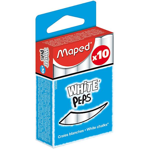 Мел WHITEPEPS белый, для детей, 10 шт., MAPEDМелки для асфальта<br>Мел WHITEPEPS белый, для детей, 10 шт., MAPED (МАПЕД).<br><br>Характеристики:<br><br>• Для детей в возрасте: от 3 лет<br>• В наборе: 10 белых мелков<br>• Длина мелка: 8 см.<br>• Диаметр мелка: 1 см.<br>• Упаковка: картонная коробка с европодвесом<br>• Размер упаковки: 84 х 53 х 23 мм.<br>• Вес: 104 гр.<br><br>Мел WHITEPEPS от MAPED (МАПЕД) отлично подойдет для дома и школы. В наборе 10 белых мелков. Мелки легко и мягко пишут, не крошатся. Не пачкают руки и оставляют минимум пыли. Круглая форма позволяет чертить и рисовать без напряжения руки. Высокая прочность и премиальное качество. Специальная формула без грязи. Товар соответствует требованиям безопасности продукции.<br><br>Мел WHITEPEPS белый, для детей, 10 шт., MAPED (МАПЕД) можно купить в нашем интернет-магазине.<br>Ширина мм: 104; Глубина мм: 51; Высота мм: 22; Вес г: 107; Возраст от месяцев: 36; Возраст до месяцев: 2147483647; Пол: Унисекс; Возраст: Детский; SKU: 5530043;