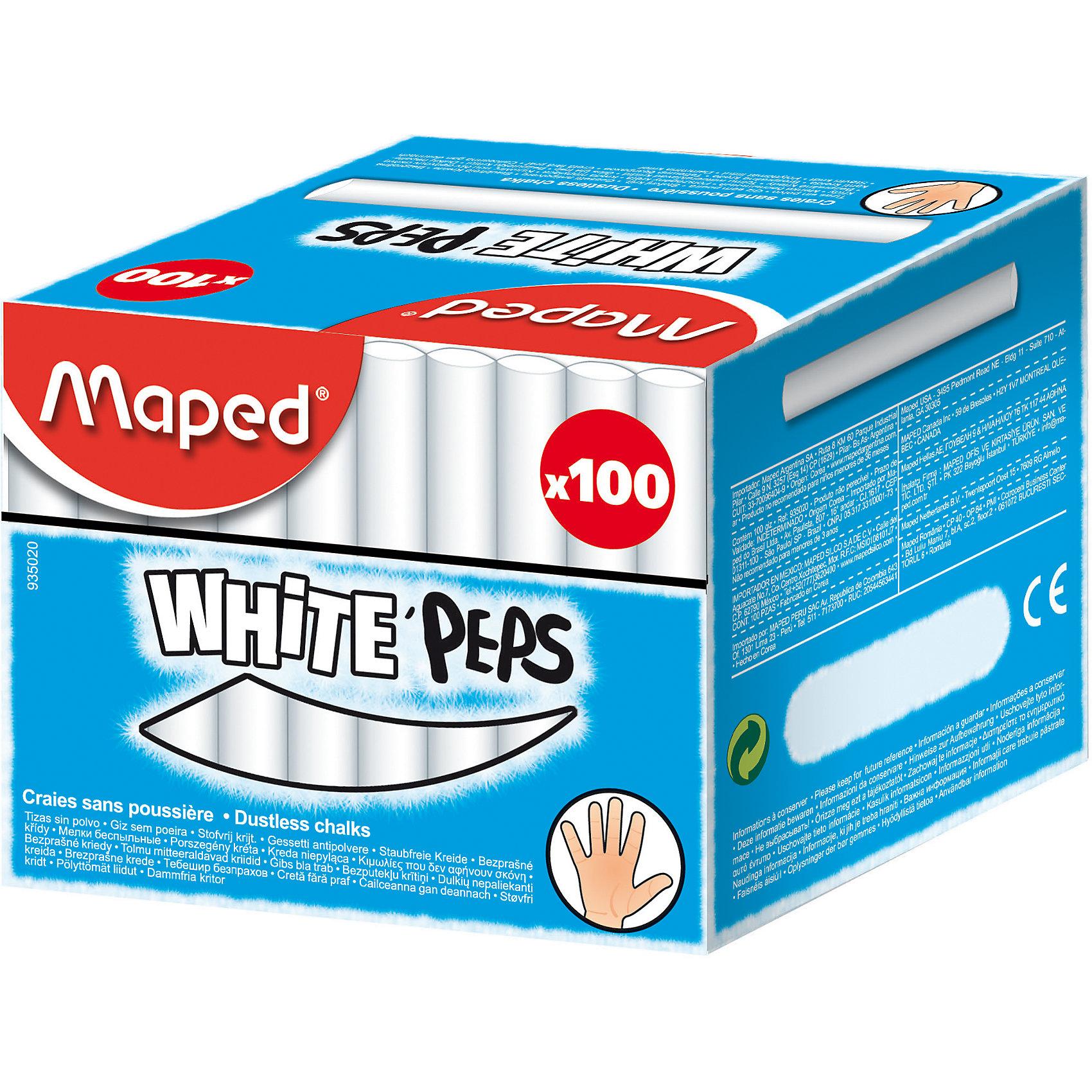 Мел WHITEPEPS белый, для детей, 100шт., MAPEDМелки для асфальта<br>Мел WHITEPEPS белый, для детей, 100шт., MAPED (МАПЕД).<br><br>Характеристики:<br><br>• Для детей в возрасте: от 3 лет<br>• В наборе: 100 белых мелков<br>• Длина мелка: 8 см.<br>• Диаметр мелка: 1 см.<br>• Упаковка: картонная коробка<br>• Размер упаковки: 89 х 105 х 84 мм.<br><br>Мел WHITEPEPS от MAPED (МАПЕД) отлично подойдет для дома и школы. В наборе 100 белых мелков. Мелки легко и мягко пишут, не крошатся. Не пачкают руки и оставляют минимум пыли. Круглая форма позволяет чертить и рисовать без напряжения руки. Высокая прочность и премиальное качество. Специальная формула без грязи. Товар соответствует требованиям безопасности продукции.<br><br>Мел WHITEPEPS белый, для детей, 100шт., MAPED (МАПЕД) можно купить в нашем интернет-магазине.<br><br>Ширина мм: 84<br>Глубина мм: 105<br>Высота мм: 89<br>Вес г: 1050<br>Возраст от месяцев: 36<br>Возраст до месяцев: 2147483647<br>Пол: Унисекс<br>Возраст: Детский<br>SKU: 5530044