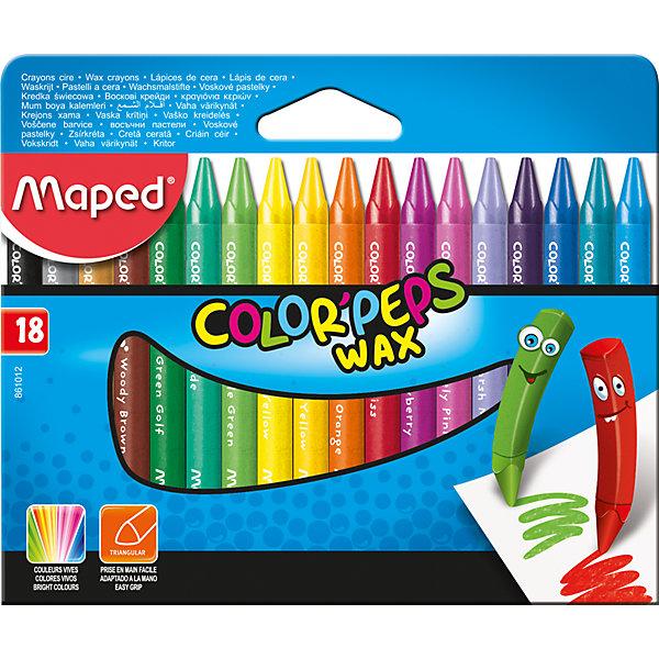 Мелки восковые, 18 цветов, MAPEDМелки для асфальта<br>Мелки восковые, 18 цветов, MAPED (МАПЕД).<br><br>Характеристики:<br><br>• Для детей в возрасте: от 3 лет<br>• В наборе: 18 восковых мелков<br>• Количество цветов: 18<br>• Длина мелка: 84 мм.<br>• Диаметр мелка: 8 мм.<br>• Упаковка: картонная коробка с европодвесом<br><br>Мелки восковые в защитном бумажном футляре, непременно, понравятся вашему юному художнику. В наборе 18 восковых мелков, ярких насыщенных цветов. Обеспечивают мягкое письмо, обладают отличными кроющими свойствами. Треугольная форма позволяет легко удерживать мелок в руке. Бумажное покрытие не дает рукам пачкаться.<br><br>Мелки восковые, 18 цветов, MAPED (МАПЕД) можно купить в нашем интернет-магазине.<br><br>Ширина мм: 75<br>Глубина мм: 121<br>Высота мм: 18<br>Вес г: 391<br>Возраст от месяцев: 36<br>Возраст до месяцев: 2147483647<br>Пол: Унисекс<br>Возраст: Детский<br>SKU: 5530045