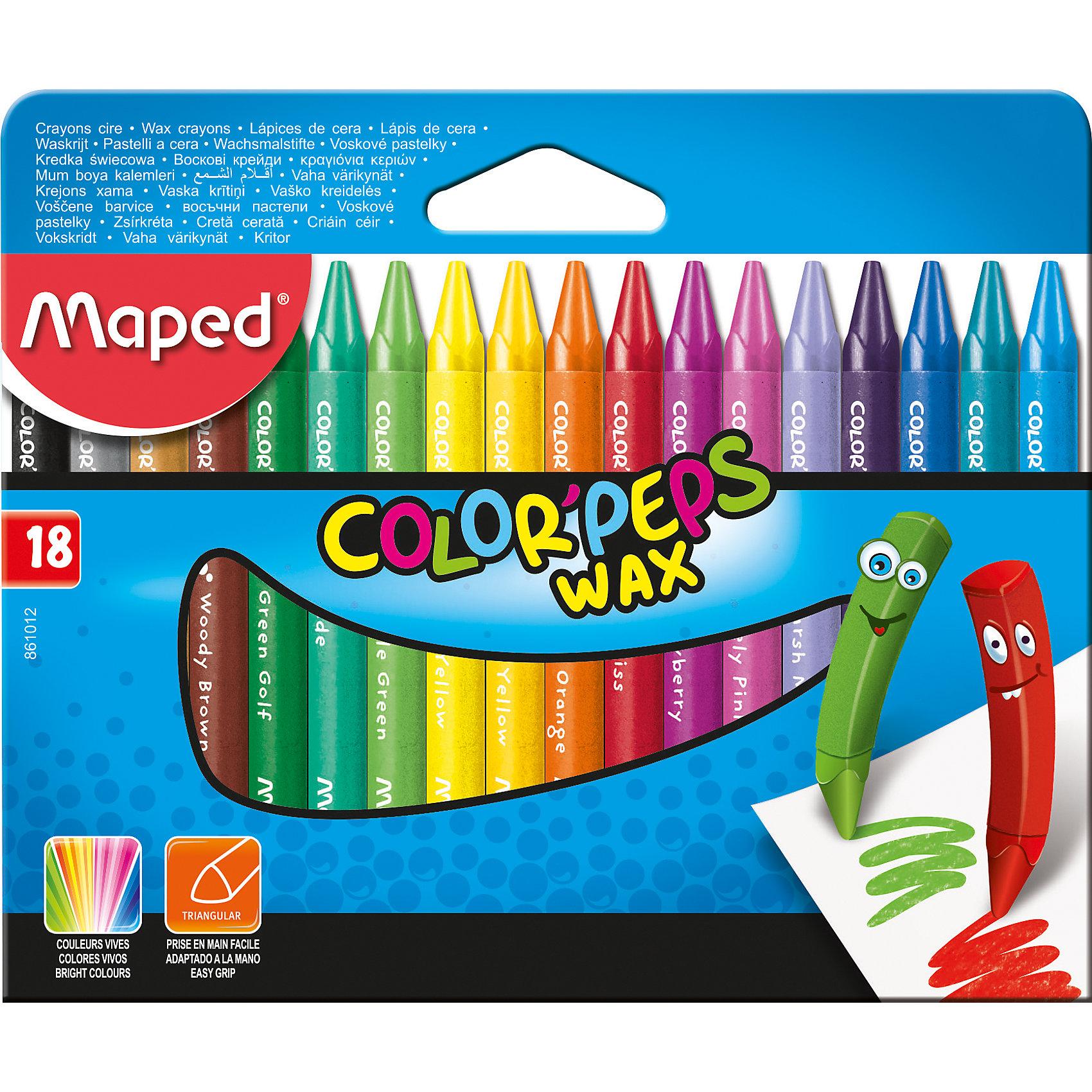 Мелки восковые, 18 цветов, MAPEDМелки для асфальта<br>Мелки восковые COLORPEPS WAX 18 цветов треугольный корпус в защитом бумажом футляре. Яркие и насыщенные цвета. Мелки удобные и мягкие. Бумажное покрытие не дает рукам пачкаться. Треугольная форма обеспечивает легкое удерживание в руке.<br><br>Ширина мм: 75<br>Глубина мм: 121<br>Высота мм: 18<br>Вес г: 391<br>Возраст от месяцев: 36<br>Возраст до месяцев: 2147483647<br>Пол: Унисекс<br>Возраст: Детский<br>SKU: 5530045