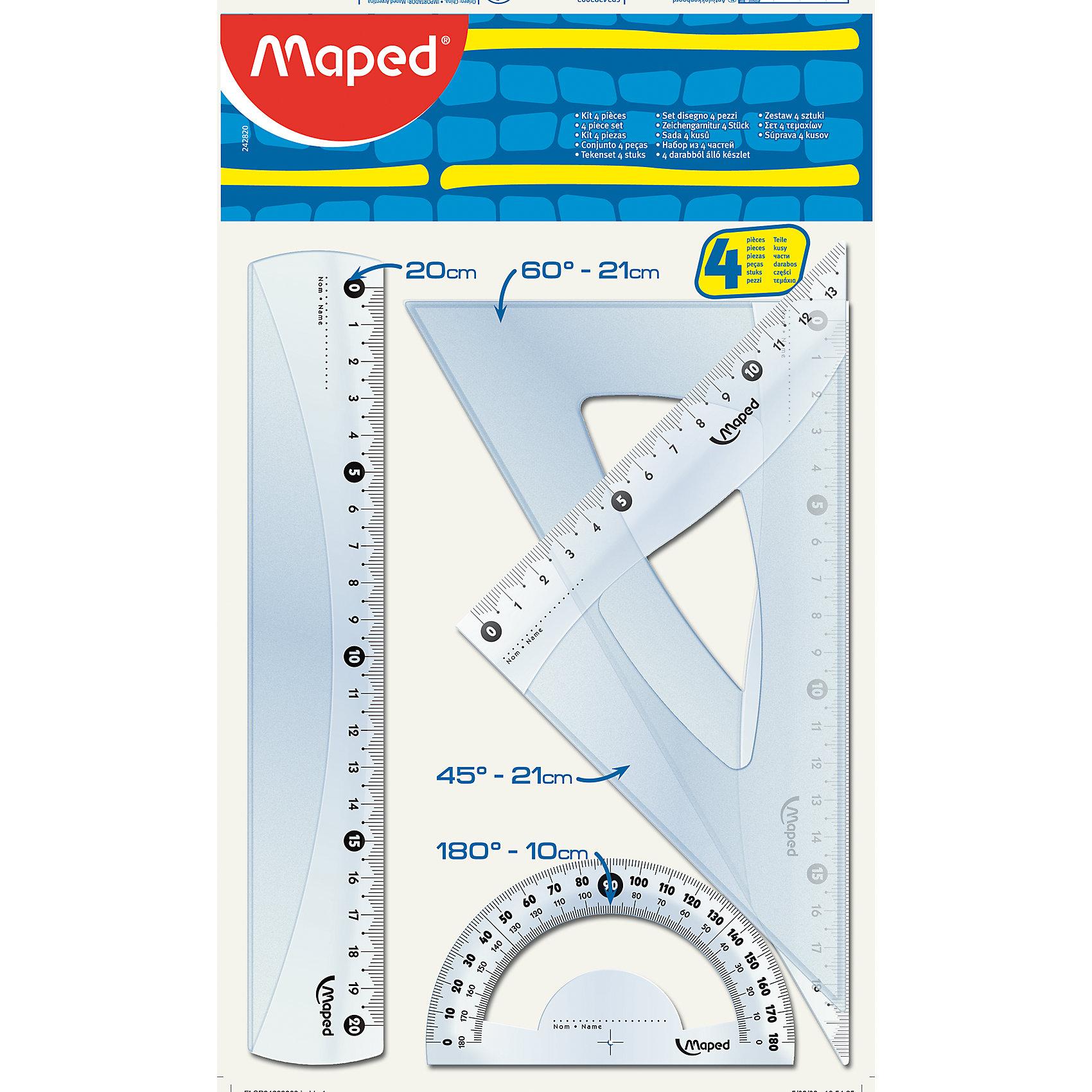Набор чертежных инструментов START MIDI, MAPEDЧертежные принадлежности<br>Набор чертежных инструментов START MIDI, MAPED (МАПЕД).<br><br>Характеристики:<br><br>• Для детей в возрасте: от 6 лет<br>• В наборе: линейка 20 см, угольник 60°/21 см, угольник 45°/21 см, транспортир 180°/10 см.<br>• Материал: пластик<br>• Размер упаковки: 17,5 х 30,5 х 0,3 см.<br><br>Набор чертежных инструментов START MIDI, от MAPED (МАПЕД), выполненный из прозрачного пластика сиреневого цвета содержит все, что может понадобиться ученику на уроках математики. Чертежные инструменты разработаны с учетом всех потребностей ребенка. Деления нанесены с использованием ультрафиолетовых чернил для оптимальной стойкости. Шкала легкочитаемая: лучшая видимость нулевой отметки, выделены каждые 5 см. Набор удобный, компактный и мобильный.<br><br>Набор чертежных инструментов START MIDI, MAPED (МАПЕД) можно купить в нашем интернет-магазине.<br><br>Ширина мм: 288<br>Глубина мм: 173<br>Высота мм: 30<br>Вес г: 72<br>Возраст от месяцев: 72<br>Возраст до месяцев: 2147483647<br>Пол: Унисекс<br>Возраст: Детский<br>SKU: 5530046