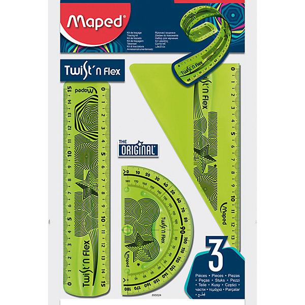 Набор Maped Twistn FlexЧертежные принадлежности<br>Набор Maped Twistn Flex.<br><br>Характеристики:<br><br>• Для детей в возрасте: от 6 лет<br>• В наборе: линейка 15 см, угольник 60°/15 см, транспортир 180°/10 см.<br>• Материал: пластик<br>• Размер упаковки: 18х14,5х1 см.<br><br>Набор гибких чертежных инструментов Twistn Flex, от MAPED (МАПЕД), выполненный из цветного прозрачного пластика, содержит все, что может понадобиться ученику на уроках математики. Чертежные инструменты разработаны с учетом всех потребностей ребенка. Все чертежные инструменты сгибаются в любом направлении, и после непродолжительного времени принимают первоначальную форму, не деформируются. Разметка шкалы нанесена на внутреннюю поверхность чертежных принадлежностей, что предотвращает ее истирание. Шкала легкочитаемая: наглядно видно нулевую отметку, выделены каждые 5 см. Набор удобный, компактный и мобильный.<br><br>Набор Maped Twistn Flex можно купить в нашем интернет-магазине.<br>Ширина мм: 224; Глубина мм: 148; Высота мм: 30; Вес г: 32; Возраст от месяцев: 72; Возраст до месяцев: 2147483647; Пол: Унисекс; Возраст: Детский; SKU: 5530049;