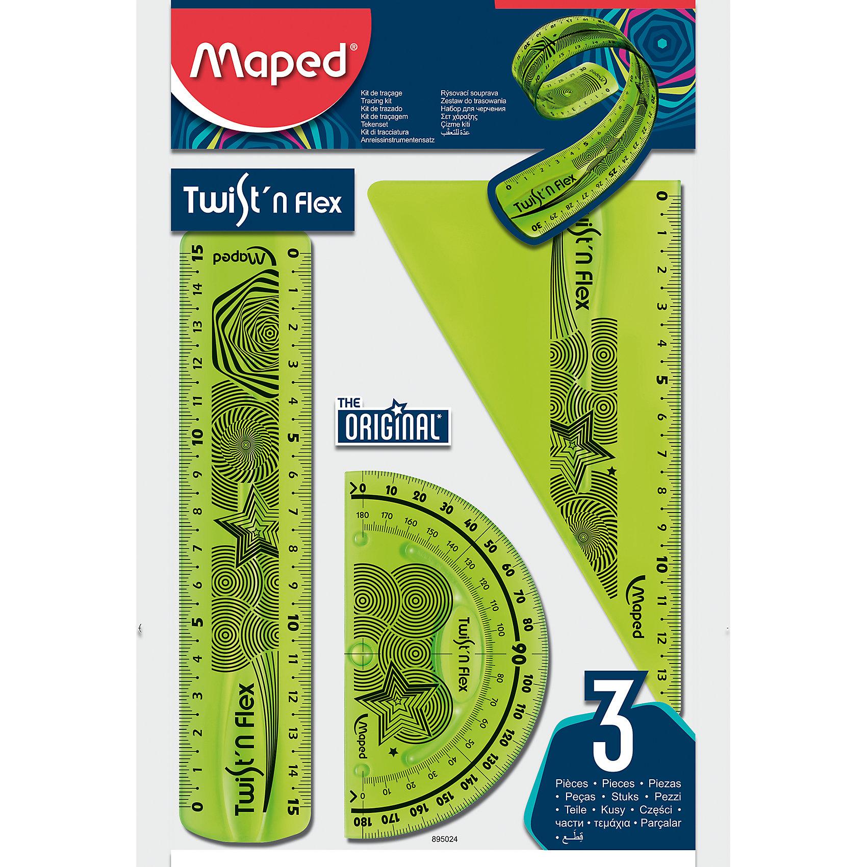 Набор Maped Twistn FlexЧертежные принадлежности<br>Набор Maped Twistn Flex.<br><br>Характеристики:<br><br>• Для детей в возрасте: от 6 лет<br>• В наборе: линейка 15 см, угольник 60°/15 см, транспортир 180°/10 см.<br>• Материал: пластик<br>• Размер упаковки: 18х14,5х1 см.<br><br>Набор гибких чертежных инструментов Twistn Flex, от MAPED (МАПЕД), выполненный из цветного прозрачного пластика, содержит все, что может понадобиться ученику на уроках математики. Чертежные инструменты разработаны с учетом всех потребностей ребенка. Все чертежные инструменты сгибаются в любом направлении, и после непродолжительного времени принимают первоначальную форму, не деформируются. Разметка шкалы нанесена на внутреннюю поверхность чертежных принадлежностей, что предотвращает ее истирание. Шкала легкочитаемая: наглядно видно нулевую отметку, выделены каждые 5 см. Набор удобный, компактный и мобильный.<br><br>Набор Maped Twistn Flex можно купить в нашем интернет-магазине.<br><br>Ширина мм: 224<br>Глубина мм: 148<br>Высота мм: 30<br>Вес г: 32<br>Возраст от месяцев: 72<br>Возраст до месяцев: 2147483647<br>Пол: Унисекс<br>Возраст: Детский<br>SKU: 5530049