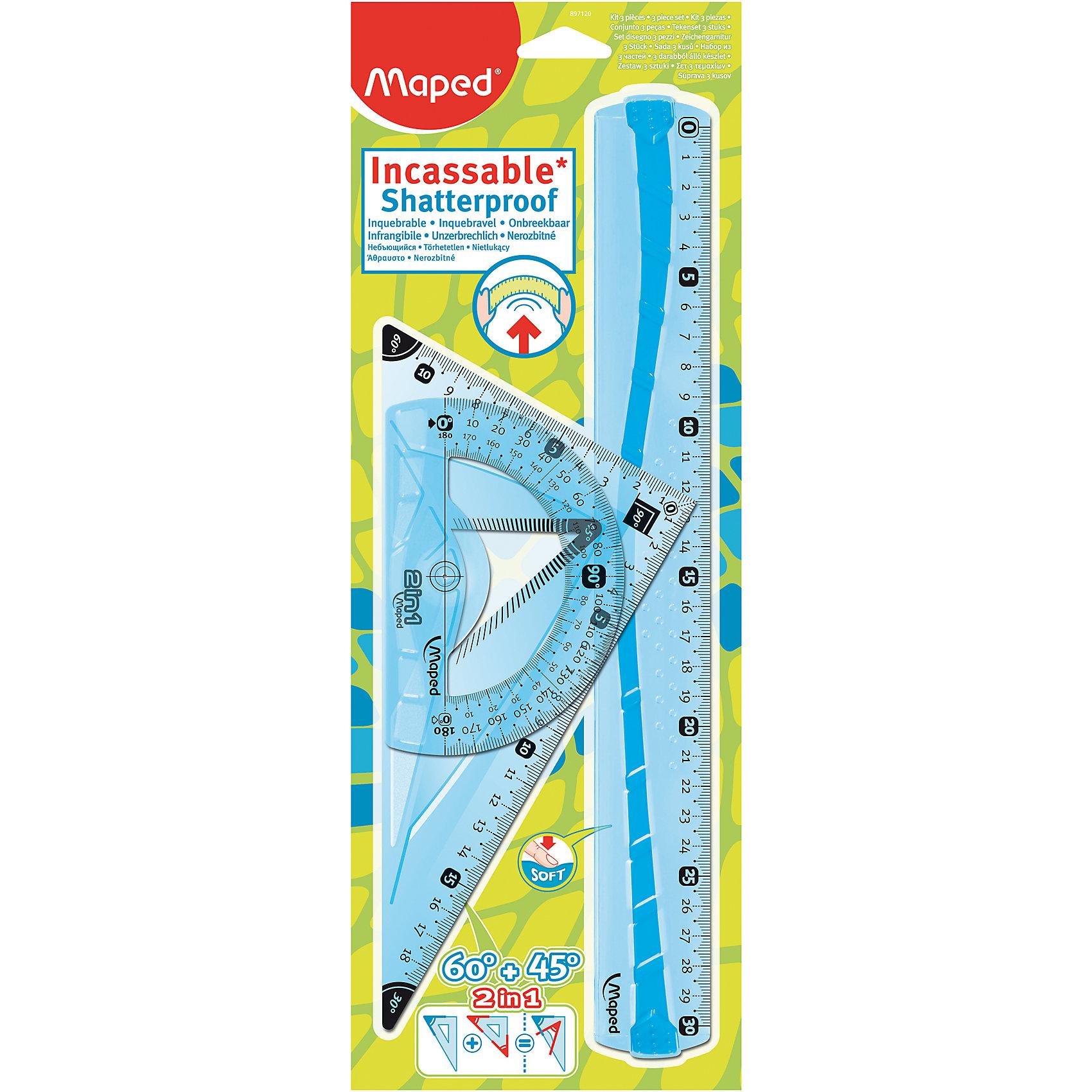 Набор Maped FlexЧертежные принадлежности<br>Набор Maped Flex.<br><br>Характеристики:<br><br>• Для детей в возрасте: от 6 лет<br>• В наборе: линейка 30 см, угольник 2 в 1 с углами 60°/45° 21 см, транспортир с держателем 180°/12 см.<br>• Материал: пластик<br><br>Набор неломающихся чертежных инструментов Flex, от MAPED (МАПЕД), выполненный из цветного прозрачного пластика, содержит все, что может понадобиться ученику на уроках математики. Чертежные инструменты разработаны с учетом всех потребностей ребенка. Все чертежные инструменты устойчивы к ударам и изгибам. Разметка шкалы нанесена на внутреннюю поверхность чертежных принадлежностей, что предотвращает ее истирание. Шкала легкочитаемая, предусмотрено наглядное указание отметки «0» и наглядные индикаторы каждые 5 см. На линейке имеется нескользящая резиновая вставка.<br><br>Набор Maped Flex можно купить в нашем интернет-магазине.<br><br>Ширина мм: 363<br>Глубина мм: 130<br>Высота мм: 10<br>Вес г: 130<br>Возраст от месяцев: 72<br>Возраст до месяцев: 2147483647<br>Пол: Унисекс<br>Возраст: Детский<br>SKU: 5530050