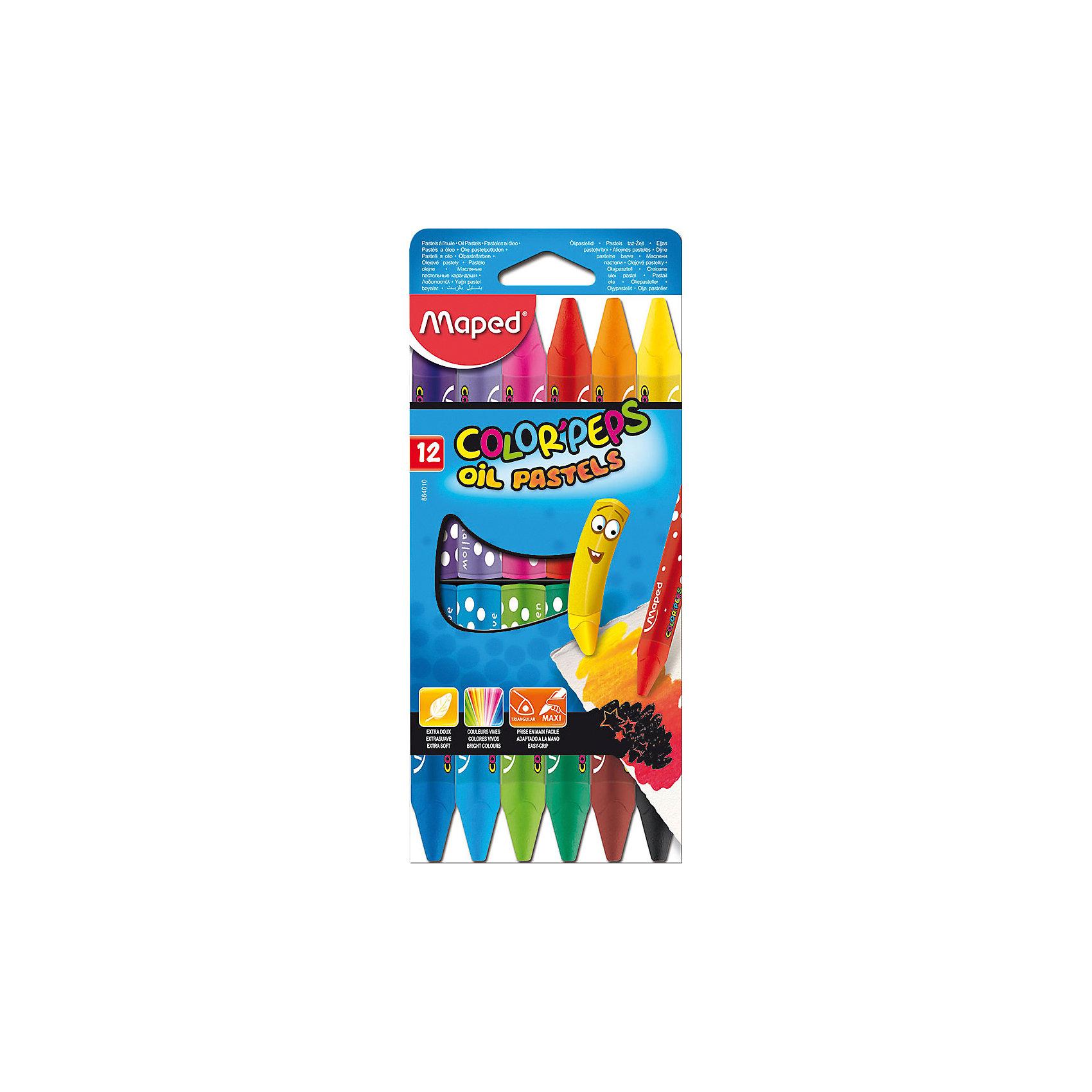 Пастель масляная 12 цветов, MAPEDРисование<br>Пастель масляная Color Peps, треугольный корпус, супер мягкая в картонном футляре. В наборе 12 цветов. Яркие цвета и насыщенное закрашивание. Большой размер Макси для более легкого удерживания в руке. Подходят для самых маленьких. Используется для различных художественных техник: создание набросков, копирование притиранием (раббинг), нахлестыванием (оверлаппинг) и т.д.<br><br>Ширина мм: 210<br>Глубина мм: 90<br>Высота мм: 20<br>Вес г: 391<br>Возраст от месяцев: 36<br>Возраст до месяцев: 2147483647<br>Пол: Унисекс<br>Возраст: Детский<br>SKU: 5530056