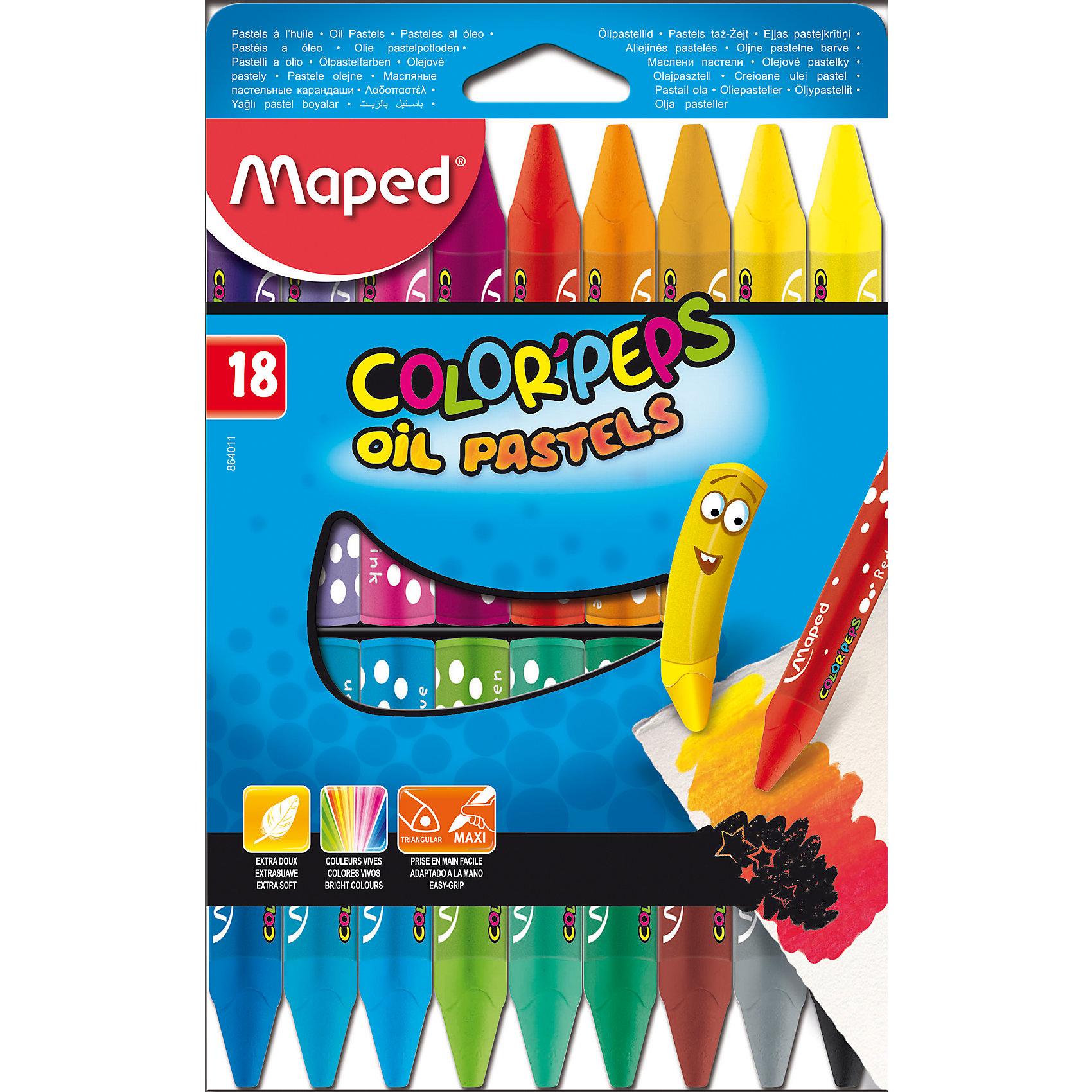 Пастель масляная 18 цветов, MAPEDПастель масляная Color Peps, треугольный корпус, супер мягкая в картонном футляре. В наборе 18 цветов. Яркие цвета и насыщенное закрашивание. Большой размер Макси для более легкого удерживания в руке. Подходят для самых маленьких. Используется для различных художественных техник: создание набросков, копирование притиранием (раббинг), нахлестыванием (оверлаппинг) и т.д.<br><br>Ширина мм: 210<br>Глубина мм: 130<br>Высота мм: 20<br>Вес г: 391<br>Возраст от месяцев: 36<br>Возраст до месяцев: 2147483647<br>Пол: Унисекс<br>Возраст: Детский<br>SKU: 5530057