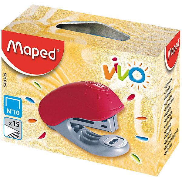 Степлер VIVO, MAPEDШкольные аксессуары<br>Степлер VIVO, MAPED (МАПЕД).<br><br>Характеристики:<br><br>• Для детей в возрасте: от 7 лет<br>• Металлический механизм сшивки<br>• Пластиковый корпус оригинального дизайна<br>• Встроенный антистеплер<br>• Глубина сшивки: 29 мм.<br>• Вмещает 58 скоб №10<br><br>Детский пластиковый степлер VIVO рассчитан на скрепление 15 листов. Оснащен встроенным антистеплером. Используется со скобами №10.<br><br>Степлер VIVO, MAPED (МАПЕД) можно купить в нашем интернет-магазине.<br><br>Ширина мм: 67<br>Глубина мм: 27<br>Высота мм: 420<br>Вес г: 30<br>Возраст от месяцев: 84<br>Возраст до месяцев: 2147483647<br>Пол: Унисекс<br>Возраст: Детский<br>SKU: 5530058