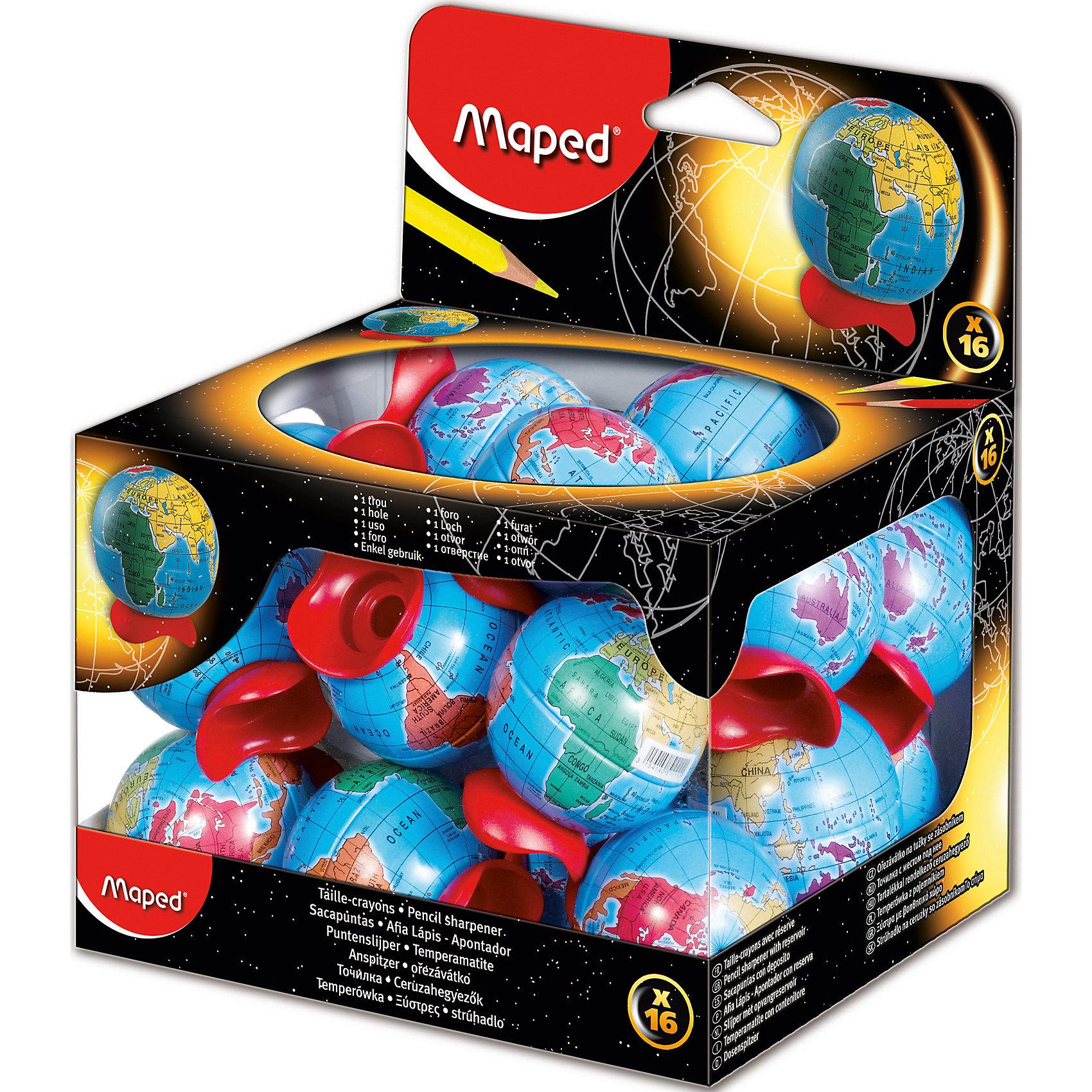 Точилка ГЛОБУС, MAPEDПисьменные принадлежности<br>Точилка GLOBE 1 отверстие с контейнером в виде глобуса. Контейнер металлический. Яркий и классический дизайн.<br><br>Ширина мм: 50<br>Глубина мм: 43<br>Высота мм: 43<br>Вес г: 15<br>Возраст от месяцев: 72<br>Возраст до месяцев: 2147483647<br>Пол: Унисекс<br>Возраст: Детский<br>SKU: 5530059