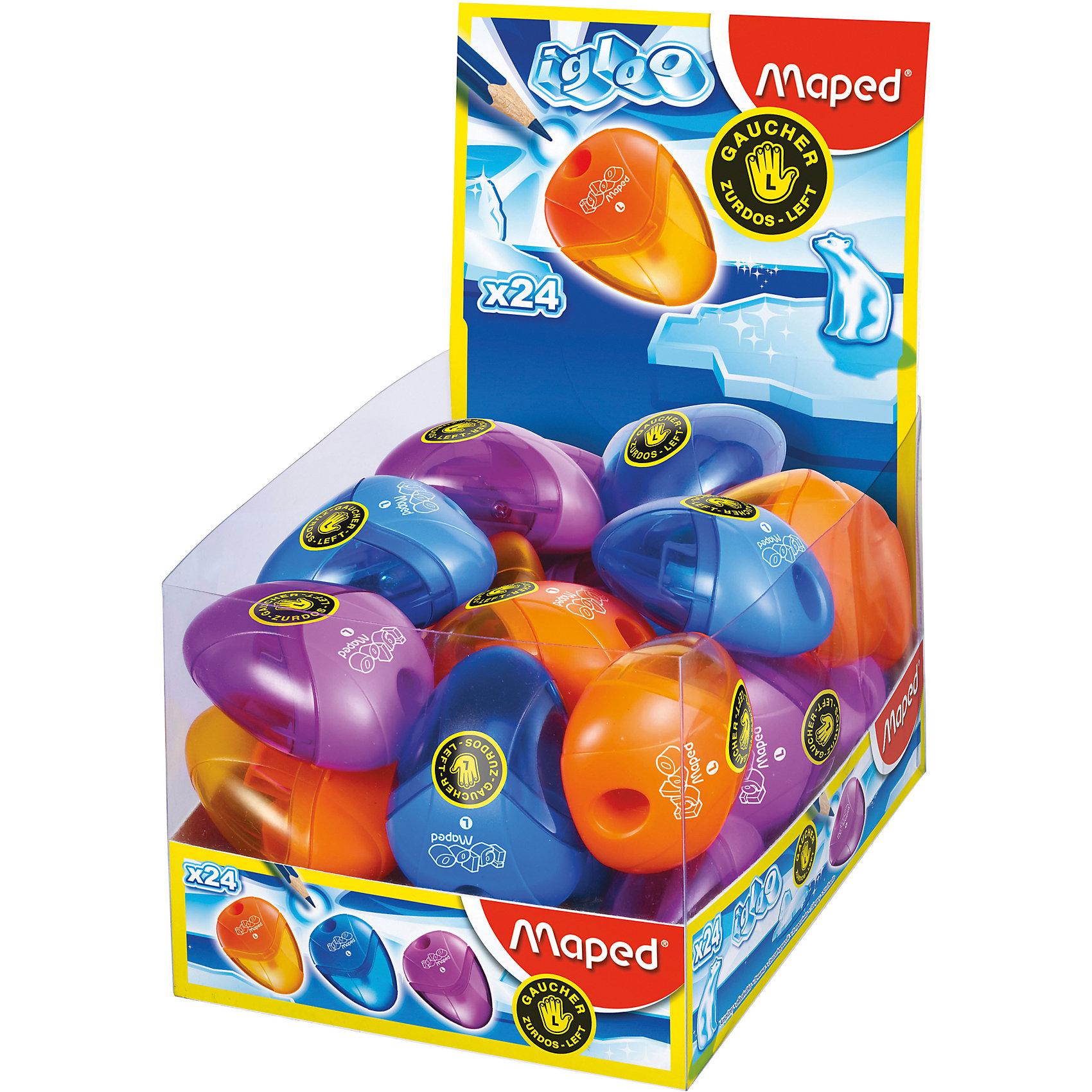 Точилка пластиковая I-GLOO, цвет в ассортименте, MAPEDТовары для левшей<br>Точилка пластиковая I-GLOO, MAPED (МАПЕД).<br><br>Характеристики:<br><br>• Для детей в возрасте: от 6 лет<br>• Для левшей<br>• В наборе: 1 точилка<br>• Материал корпуса: пластик<br>• Размер: 5,5 x 4 x 1,5 см.<br>• ВНИМАНИЕ! Данный артикул представлен в различном цветовом исполнении. К сожалению, заранее выбрать определенный вариант невозможно. При заказе нескольких точилок возможно получение одинаковых<br><br>Точилка I-GLOO с 1 отверстием для левшей выполнена из ударопрочного пластика. Острое металлическое лезвие обеспечивает качественную и точную заточку. Полупрозрачный контейнер для сбора стружки позволяет визуально контролировать уровень заполнения и вовремя производить очистку.<br><br>Точилку пластиковую I-GLOO, MAPED (МАПЕД) можно купить в нашем интернет-магазине.<br><br>Ширина мм: 48<br>Глубина мм: 37<br>Высота мм: 240<br>Вес г: 11<br>Возраст от месяцев: 72<br>Возраст до месяцев: 2147483647<br>Пол: Унисекс<br>Возраст: Детский<br>SKU: 5530060