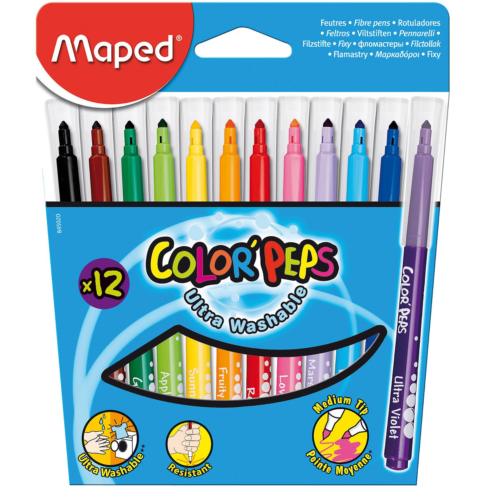Фломастеры COLORPEPS, 12 цветов, MAPEDПисьменные принадлежности<br>Фломастеры COLORPEPS, 12 цветов, MAPED (МАПЕД).<br><br>Характеристики:<br><br>• Для детей в возрасте: от 3 лет<br>• В наборе: 12 разноцветных фломастеров<br>• Толщина линии: 3,6 мм.<br>• Материал корпуса: пластик<br>• Упаковка: картонная коробка с европодвесом<br>• Размер упаковки: 176х160х14 мм.<br>• Вес: 114 гр.<br><br>Фломастеры COLORPEPS предназначены для тонкого письма, раскрашивания и рисования. В наборе 12 фломастеров, ярких насыщенных цветов. Заблокированный пишущий узел обеспечивает долговременное использование даже при сильном нажатии. Универсальный конусовидный стержень позволяет рисовать как толстые, так и тонкие линии. Фломастеры оснащены вентилируемыми колпачками с эффективной системой закрытия. Корпус трехгранный. Суперсмываемые, смываются с помощью воды и мыла с любой ткани и кожи ребенка. Длительный срок службы.<br><br>Фломастеры COLORPEPS, 12 цветов, MAPED (МАПЕД) можно купить в нашем интернет-магазине.<br><br>Ширина мм: 175<br>Глубина мм: 150<br>Высота мм: 13<br>Вес г: 137<br>Возраст от месяцев: 36<br>Возраст до месяцев: 2147483647<br>Пол: Унисекс<br>Возраст: Детский<br>SKU: 5530061
