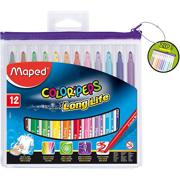 Фломастеры COLORPEPS, 12 цветов, MAPEDФломастеры<br>Фломастеры COLORPEPS, 12 цветов, MAPED (МАПЕД).<br><br>Характеристики:<br><br>• Для детей в возрасте: от 3 лет<br>• В наборе: 12 разноцветных фломастеров<br>• Толщина линии: 3,6 мм.<br>• Материал корпуса: пластик<br>• Упаковка: прозрачная упаковка с ZIP застежкой<br>• Размер упаковки: 165х185х12 мм.<br>• Вес: 118 гр.<br><br>Фломастеры COLORPEPS предназначены для тонкого письма, раскрашивания и рисования. В наборе 12 фломастеров, ярких насыщенных цветов. Заблокированный пишущий узел обеспечивает долговременное использование даже при сильном нажатии. Универсальный конусовидный стержень позволяет рисовать как толстые, так и тонкие линии. Фломастеры оснащены вентилируемыми колпачками с эффективной системой закрытия. Корпус трехгранный. Суперсмываемые, смываются с помощью воды и мыла с любой ткани и кожи ребенка. Длительный срок службы.<br><br>Фломастеры COLORPEPS, 12 цветов, MAPED (МАПЕД) можно купить в нашем интернет-магазине.<br><br>Ширина мм: 177<br>Глубина мм: 195<br>Высота мм: 11<br>Вес г: 142<br>Возраст от месяцев: 36<br>Возраст до месяцев: 2147483647<br>Пол: Унисекс<br>Возраст: Детский<br>SKU: 5530062