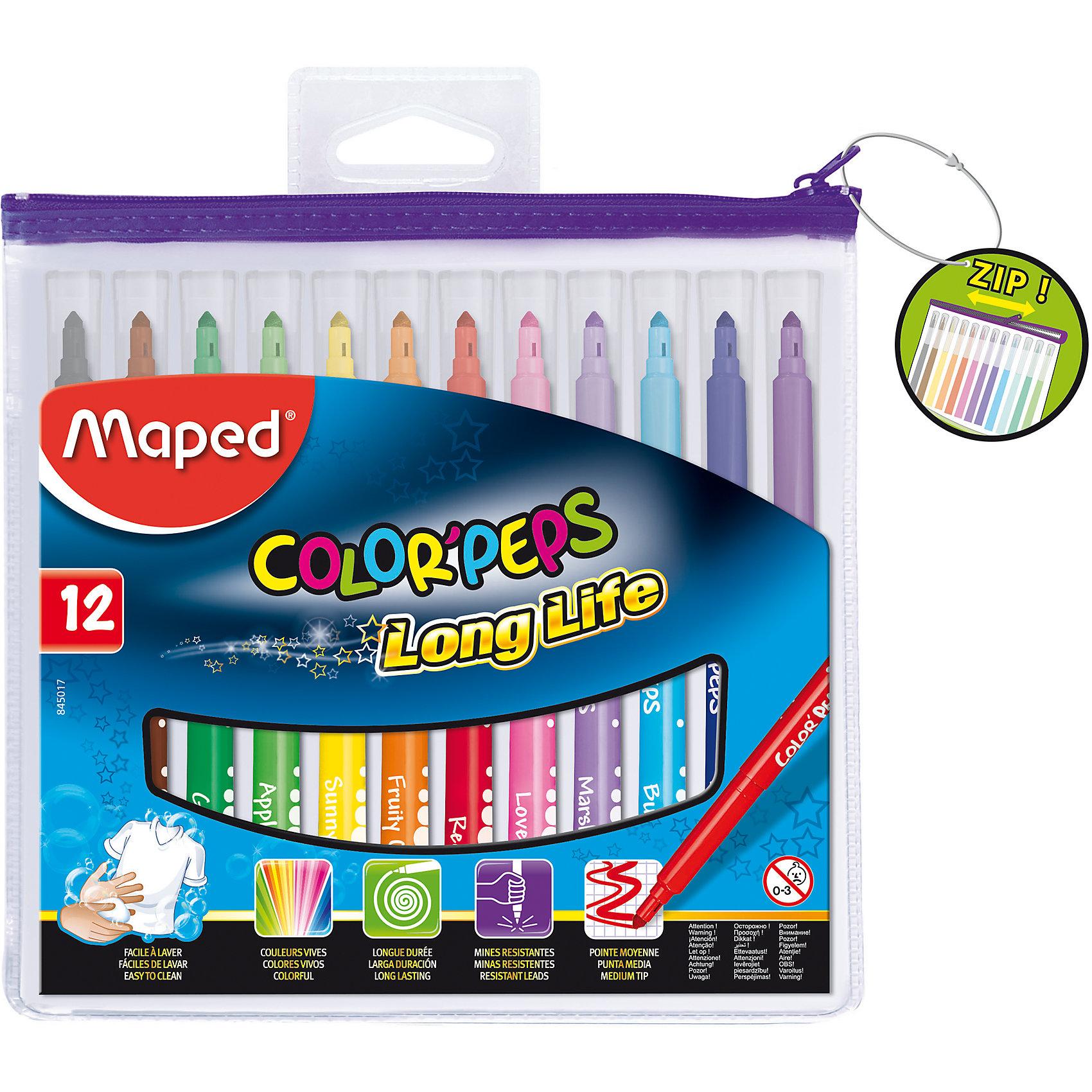 Фломастеры COLORPEPS, 12 цветов, MAPEDПисьменные принадлежности<br>Фломастеры COLORPEPS, 12 цветов, MAPED (МАПЕД).<br><br>Характеристики:<br><br>• Для детей в возрасте: от 3 лет<br>• В наборе: 12 разноцветных фломастеров<br>• Толщина линии: 3,6 мм.<br>• Материал корпуса: пластик<br>• Упаковка: прозрачная упаковка с ZIP застежкой<br>• Размер упаковки: 165х185х12 мм.<br>• Вес: 118 гр.<br><br>Фломастеры COLORPEPS предназначены для тонкого письма, раскрашивания и рисования. В наборе 12 фломастеров, ярких насыщенных цветов. Заблокированный пишущий узел обеспечивает долговременное использование даже при сильном нажатии. Универсальный конусовидный стержень позволяет рисовать как толстые, так и тонкие линии. Фломастеры оснащены вентилируемыми колпачками с эффективной системой закрытия. Корпус трехгранный. Суперсмываемые, смываются с помощью воды и мыла с любой ткани и кожи ребенка. Длительный срок службы.<br><br>Фломастеры COLORPEPS, 12 цветов, MAPED (МАПЕД) можно купить в нашем интернет-магазине.<br><br>Ширина мм: 177<br>Глубина мм: 195<br>Высота мм: 11<br>Вес г: 142<br>Возраст от месяцев: 36<br>Возраст до месяцев: 2147483647<br>Пол: Унисекс<br>Возраст: Детский<br>SKU: 5530062