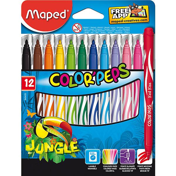 Фломастеры JUNGLE, 12 цветов, MAPEDФломастеры<br>Фломастеры JUNGLE, 12 цветов, MAPED (МАПЕД).<br><br>Характеристики:<br><br>• Для детей в возрасте: от 3 лет<br>• В наборе: 12 разноцветных фломастеров<br>• Длина корпуса с колпачком: 14,3 см.<br>• Средний пишущий узел<br>• Толщина линии: 2,8 мм.<br>• Материал корпуса: пластик<br>• Упаковка: картонная коробка с подвесом<br>• Размер упаковки: 178х135х12 мм.<br>• Вес: 98 гр.<br><br>Фломастеры JUNGLE предназначены раскрашивания и рисования. В наборе 12 фломастеров, ярких насыщенных цветов. Фломастеры имеют конусовидный, мягкий стержень, оснащены вентилируемыми колпачками. Заблокированный пишущий узел обеспечивает долговременное использование даже при сильном нажатии. Фломастеры суперсмываемые, смываются с помощью воды и мыла с любой ткани и кожи ребенка.<br><br>Фломастеры JUNGLE, 12 цветов, MAPED (МАПЕД) можно купить в нашем интернет-магазине.<br>Ширина мм: 177; Глубина мм: 135; Высота мм: 12; Вес г: 172; Возраст от месяцев: 36; Возраст до месяцев: 2147483647; Пол: Унисекс; Возраст: Детский; SKU: 5530063;