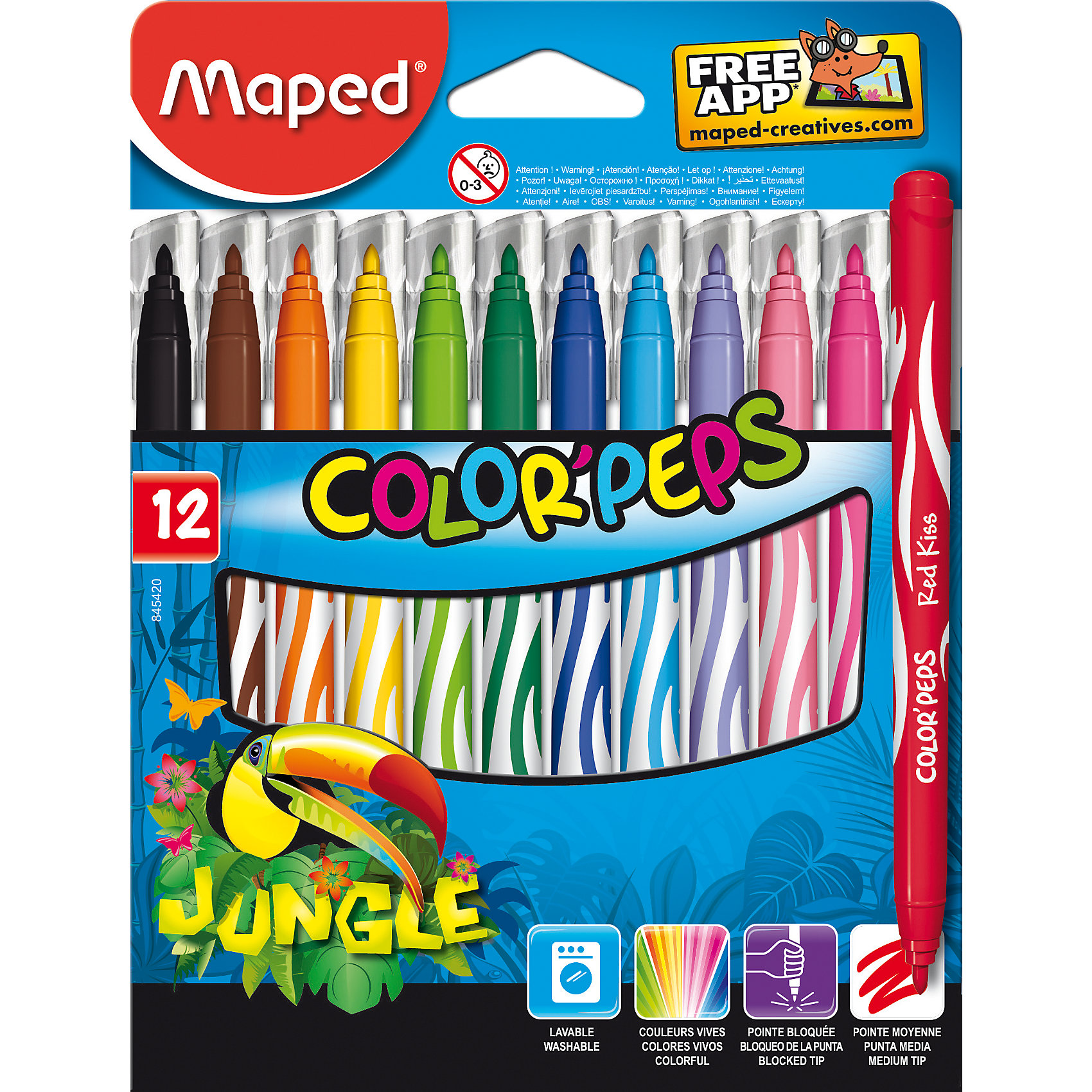 Фломастеры JUNGLE, 12 цветов, MAPEDФломастеры<br>Фломастеры JUNGLE, 12 цветов, MAPED (МАПЕД).<br><br>Характеристики:<br><br>• Для детей в возрасте: от 3 лет<br>• В наборе: 12 разноцветных фломастеров<br>• Длина корпуса с колпачком: 14,3 см.<br>• Средний пишущий узел<br>• Толщина линии: 2,8 мм.<br>• Материал корпуса: пластик<br>• Упаковка: картонная коробка с подвесом<br>• Размер упаковки: 178х135х12 мм.<br>• Вес: 98 гр.<br><br>Фломастеры JUNGLE предназначены раскрашивания и рисования. В наборе 12 фломастеров, ярких насыщенных цветов. Фломастеры имеют конусовидный, мягкий стержень, оснащены вентилируемыми колпачками. Заблокированный пишущий узел обеспечивает долговременное использование даже при сильном нажатии. Фломастеры суперсмываемые, смываются с помощью воды и мыла с любой ткани и кожи ребенка.<br><br>Фломастеры JUNGLE, 12 цветов, MAPED (МАПЕД) можно купить в нашем интернет-магазине.<br><br>Ширина мм: 177<br>Глубина мм: 135<br>Высота мм: 12<br>Вес г: 172<br>Возраст от месяцев: 36<br>Возраст до месяцев: 2147483647<br>Пол: Унисекс<br>Возраст: Детский<br>SKU: 5530063