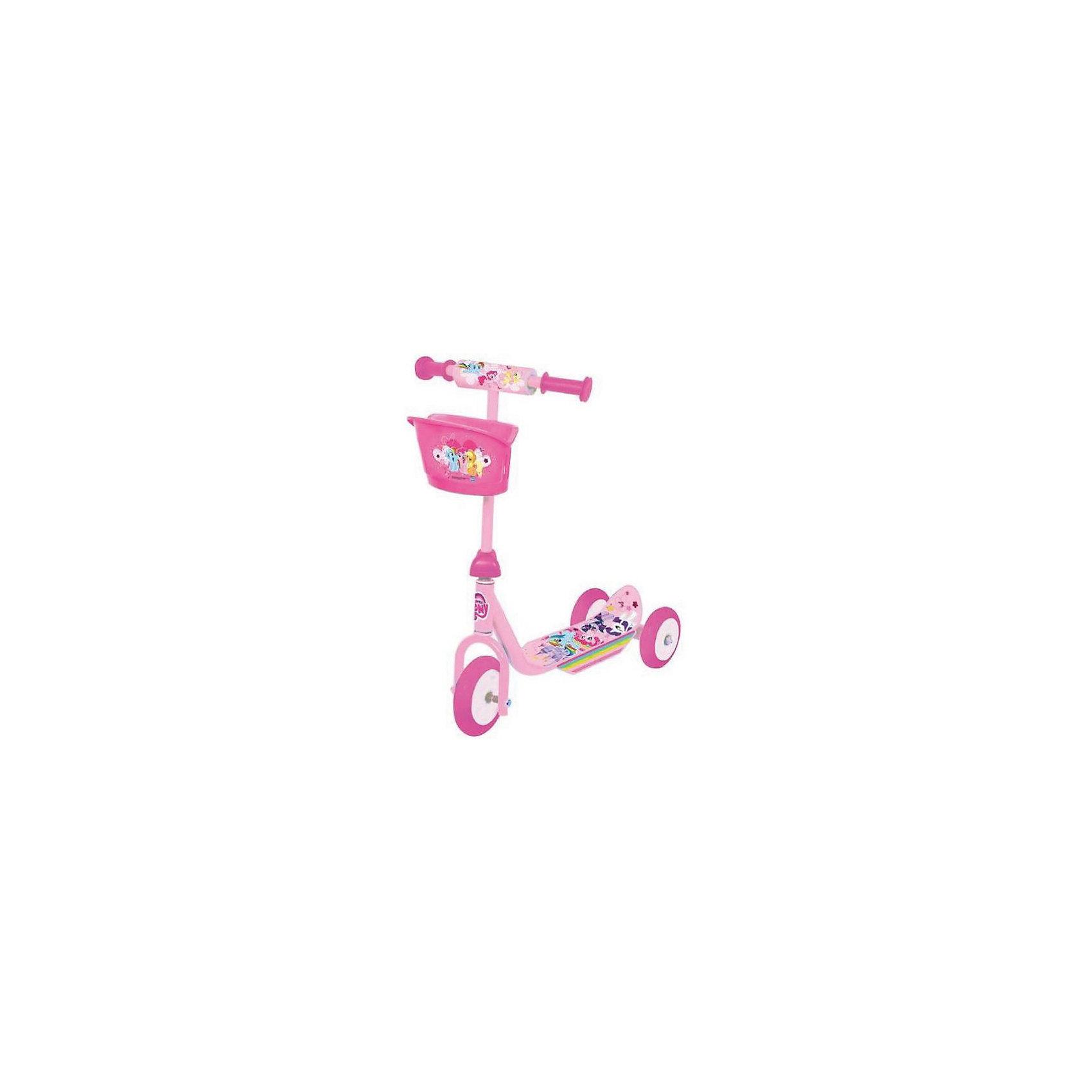 Трехколесный самокат Мой маленький пони, My little Pony, NextCамокат 3-колесный Hasbro My little Pony для самых маленьких- колеса пвх: переднее 140 мм, задние 125 мм,- платформа 34 х 10 см,- материал: пластик, сталь,- удобная пластиковая корзина,- устойчивая безопасная конструкция,- максимальная нагрузка - 20 кг<br><br>Ширина мм: 140<br>Глубина мм: 340<br>Высота мм: 510<br>Вес г: 3220<br>Возраст от месяцев: 180<br>Возраст до месяцев: 60<br>Пол: Женский<br>Возраст: Детский<br>SKU: 5530219