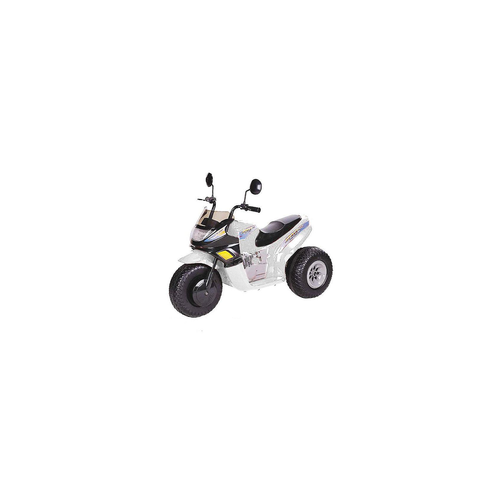 Мотоцикл СТ на аккумуляторе, BugatiМотоцикл на аккумуляторах ст-770 - 12v (2 аккумулятора 6v12ah) и два мотора - 2 скорости вперед + 1 скорость назад - габариты: 102х53х79 см (дхшхв) - светится фара - звуковые эффекты - скорость: 3-7 км/час - вес мотоцикла: 15 кг - резиновые накладки на колесах - боковые зеркала - максимальная нагрузка: 25 кг Цвет: белый.<br><br>Ширина мм: 740<br>Глубина мм: 550<br>Высота мм: 1020<br>Вес г: 17600<br>Возраст от месяцев: 60<br>Возраст до месяцев: 108<br>Пол: Унисекс<br>Возраст: Детский<br>SKU: 5530234