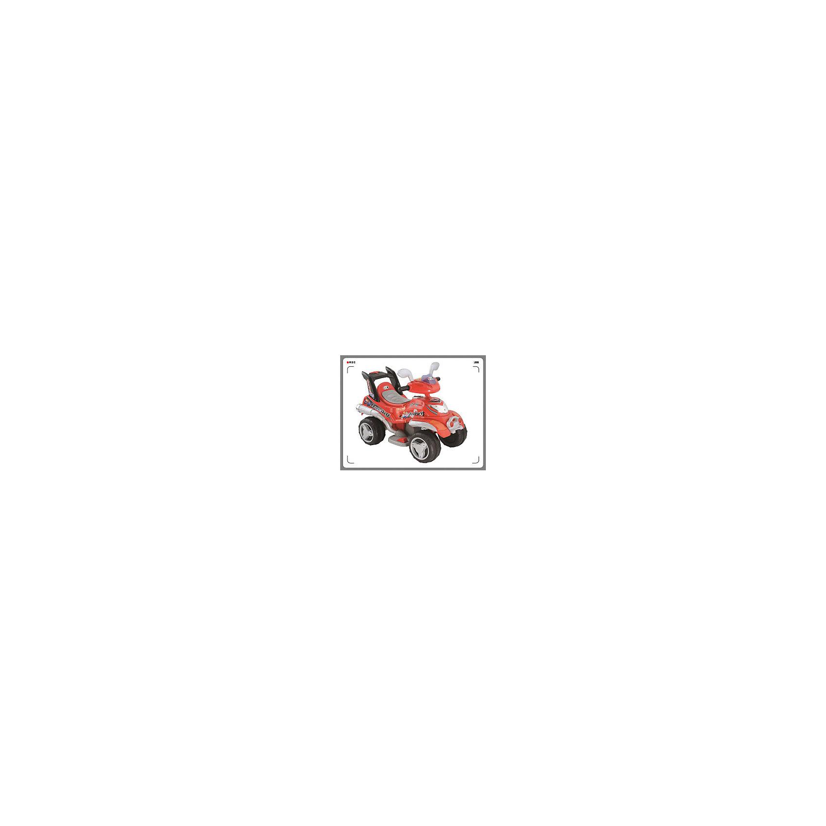 Квадроцикл на аккумуляторе, BugatiКвадроцикл Bugati на аккумуляторах - аккумулятор 6v4.5ah - мотор 6v15w - скорость 2-3 км/час - световые и звуковые эффекты - движение вперёд и назад - боковые зеркала - габариты 81х44х60 см - максимальная нагрузка 25 кг - вес-нетто: 7,1 кг. Цвет: красный.<br><br>Ширина мм: 600<br>Глубина мм: 440<br>Высота мм: 810<br>Вес г: 9100<br>Возраст от месяцев: 36<br>Возраст до месяцев: 84<br>Пол: Унисекс<br>Возраст: Детский<br>SKU: 5530236