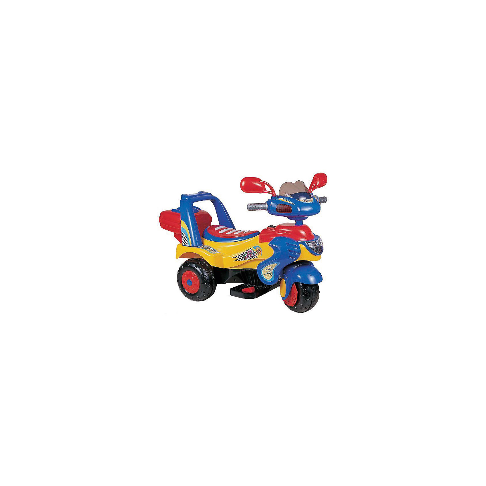 Мотоцикл на аккумуляторе, BugatiЭлектромобили<br>Мотоцикл Bugati на аккумуляторах трехколесный - аккумулятор 6v4,5ah - мотор 15w - максимальная скорость: 2,5 км/час - световые и звуковые функции - движение вперед и назад - задний бардачок - боковые зеркала - резиновые вставки на колесах - габариты: 94х50х63 см - максимальная нагрузка: 30 кг - вес-нетто 9,6 кг.<br><br>Ширина мм: 480<br>Глубина мм: 380<br>Высота мм: 700<br>Вес г: 9600<br>Возраст от месяцев: 36<br>Возраст до месяцев: 96<br>Пол: Мужской<br>Возраст: Детский<br>SKU: 5530238