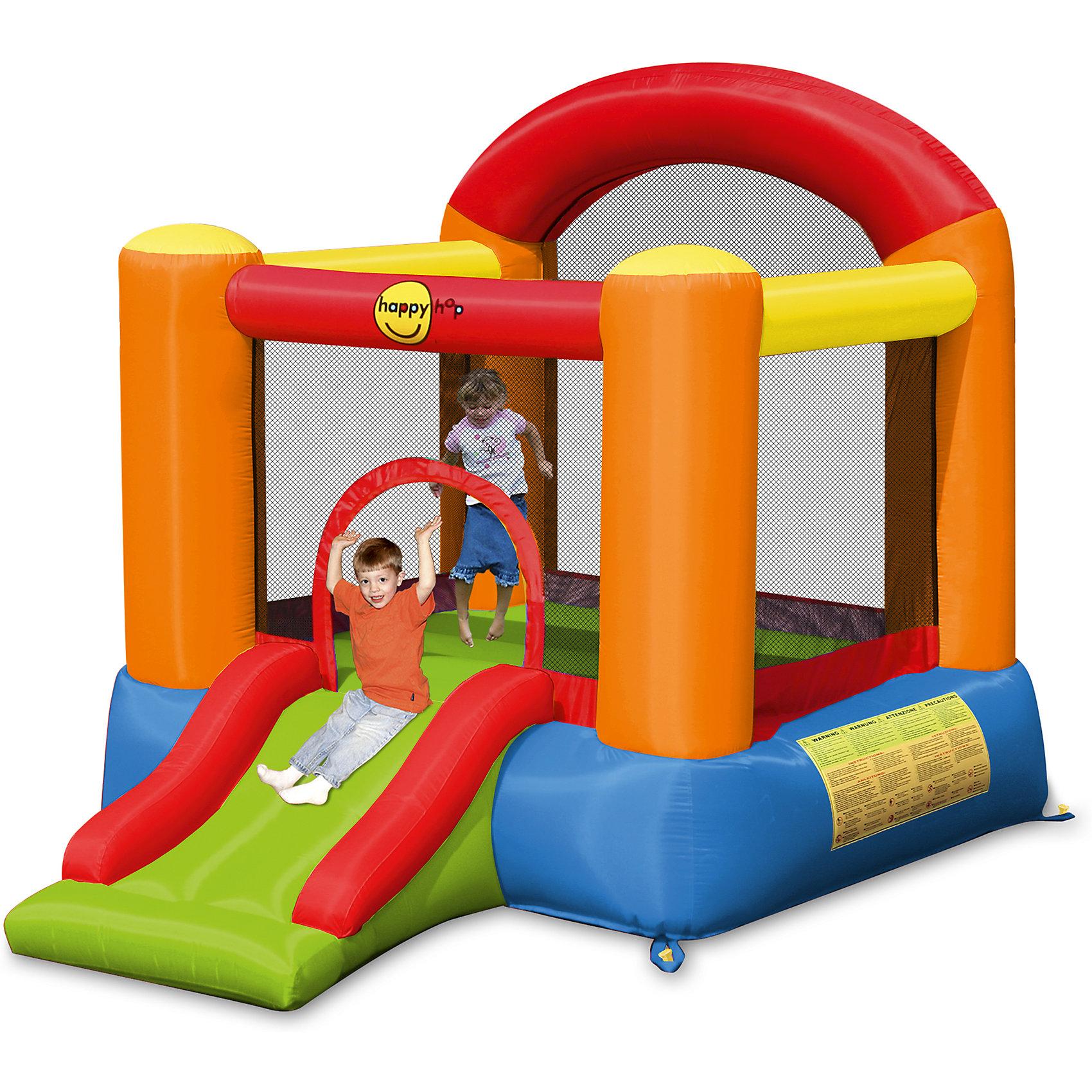 Надувной батут с горкой Малыш, Happy HopБатуты<br>Характеристики:<br><br>• возраст ребенка: от 3 до 5 лет;<br>• рост ребенка: 90-120 см;<br>• вес одного ребенка: до 34 кг;<br>• количество играющих одновременно детей: 2;<br>• максимальный вес: 68 кг (при этом вес каждого ребенка не должен превышать 34 кг).<br><br>Размеры:<br><br>• размер игрового комплекса: 265х200х200 см;<br>• размер батута: 189х180 см;<br>• высота основания: 40 см;<br>• высота прыжковой поверхности: 149х140 см;<br>• высота защитной сетки-ограждения: 87 см;<br>• размер горки: 85х82 см;<br>• ширина скользящей поверхности: 55 см;<br>• прочность батута на растяжение: до 136 кг;<br>• прочность на разрыв: до 14 кг;<br>• прочность на соединение: до 27 кг;<br>• диапазон температур для батута: от -10 до +40 градусов;<br>• диапазон температур для насоса: от -15 до +40 градусов;<br>• размер упаковки: 38х38х47 см;<br>• вес в упаковке: 13,8 кг.<br><br>Дополнительная информация:<br><br>• материал: ламинированный ПВХ, ламинированная ткань Оксфорд;<br>• плотность: ПВХ 360 г/м2, ткани Оксфорд 215 г/м2;<br>• материал застежек: лавсан;<br>• крепеж к земле: пластик;<br>• технология изготовления продукции: машинное сшивание путем соединения тканей ПВХ и Оксфорд.<br><br>Меры предосторожности:<br><br>• использование: установка на открытом воздухе;<br>• только для бытового применения;<br>• при установке батута, изделие обязательно следует крепить пластиковыми кольями к земле.<br><br>Рекомендации от производителя: в течение всего времени использования продукции HAPPY HOP необходимо поддерживать подачу воздуха и обеспечивать непрерывную работу насоса. <br><br>Надувной батут с горкой Малыш, Happy Hop можно купить в нашем интернет-магазине.<br><br>Ширина мм: 540<br>Глубина мм: 320<br>Высота мм: 370<br>Вес г: 14000<br>Возраст от месяцев: 36<br>Возраст до месяцев: 120<br>Пол: Унисекс<br>Возраст: Детский<br>SKU: 5530633