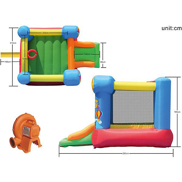 Надувной батут с горкой Вокруг света, Happy HopБатуты<br>Характеристики:<br><br>• возраст ребенка: от 3 до 10 лет;<br>• рост ребенка: 90-150 см;<br>• вес одного ребенка: до 45 кг;<br>• количество играющих одновременно детей: 2;<br>• максимальный вес: 90 кг (при этом вес каждого ребенка не должен превышать 45 кг).<br><br>Размеры:<br><br>• размер игрового комплекса: 280х210х185 см;<br>• размер батута: 190х190 см;<br>• высота основания батута: 40 см;<br>• высота прыжковой поверхности: 155х140 см;<br>• размер горки: 85х82 см;<br>• ширина скользящей поверхности: 55 см;<br>• высота защитной сетки-ограждения: 122 см;<br>• прочность батута на растяжение: до 136 кг;<br>• прочность на разрыв: до 13,6 кг;<br>• прочность на соединение: до 27,2 кг;<br>• диапазон температур для батута: от -10 до +40 градусов;<br>• диапазон температур для насоса: от -15 до +40 градусов;<br>• размер упаковки: 38х38х53 см;<br>• вес в упаковке: 14,5 кг.<br><br>Дополнительная информация:<br><br>• материал: ламинированный ПВХ, ламинированная ткань Оксфорд;<br>• плотность: ПВХ 360 г/м2, ткани Оксфорд 215 г/м2;<br>• материал застежек: лавсан;<br>• крепеж к земле: пластик;<br>• технология изготовления продукции: машинное сшивание путем соединения тканей ПВХ и Оксфорд.<br><br>Меры предосторожности:<br><br>• использование: установка на открытом воздухе;<br>• только для бытового применения;<br>• при установке батута, изделие обязательно следует крепить пластиковыми кольями к земле.<br><br>Рекомендации от производителя: в течение всего времени использования продукции HAPPY HOP необходимо поддерживать подачу воздуха и обеспечивать непрерывную работу насоса. <br><br>Надувной батут с горкой Вокруг света, Happy Hop можно купить в нашем интернет-магазине.<br><br>Ширина мм: 620<br>Глубина мм: 320<br>Высота мм: 370<br>Вес г: 14500<br>Возраст от месяцев: 36<br>Возраст до месяцев: 120<br>Пол: Унисекс<br>Возраст: Детский<br>SKU: 5530635