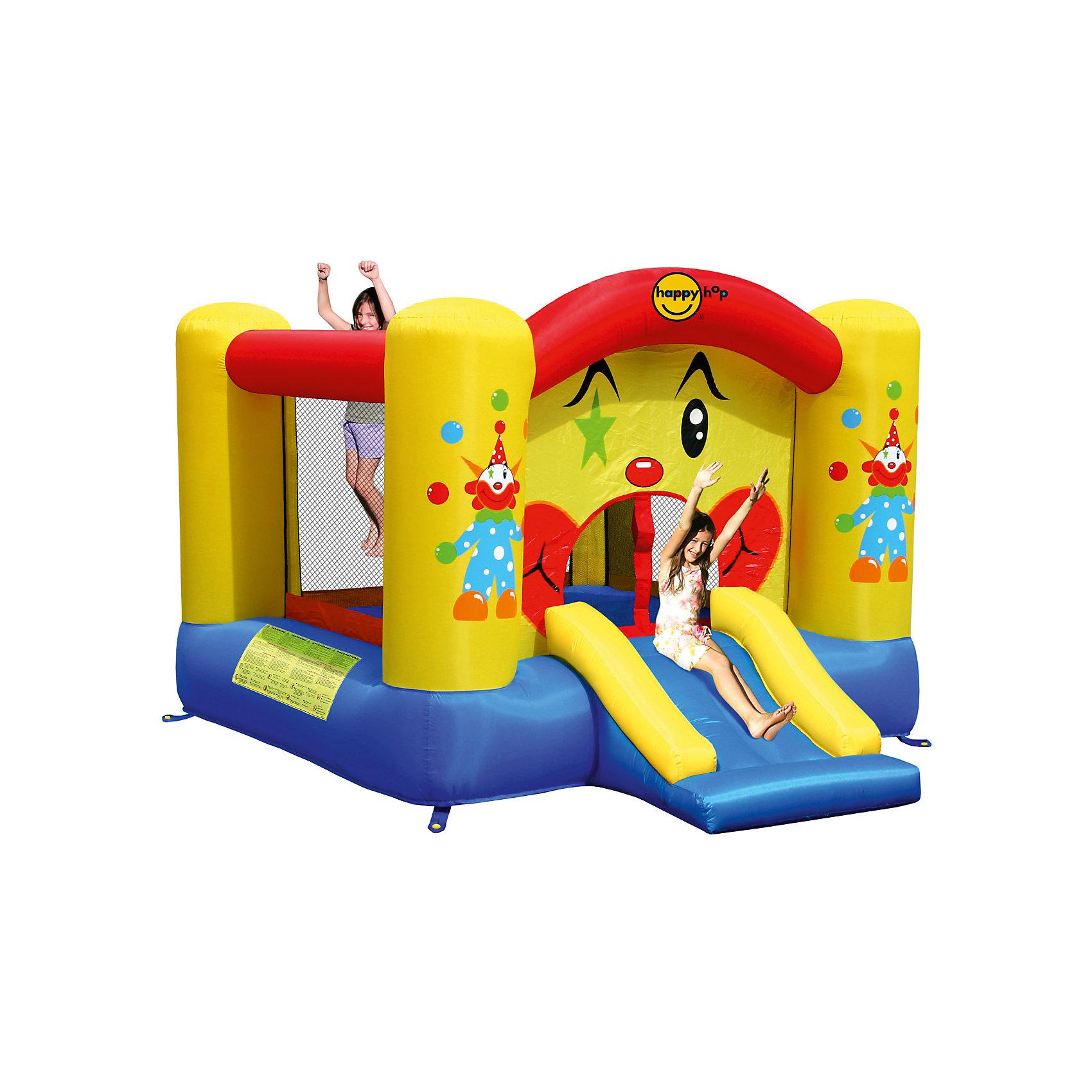 Надувной батут с горкой Забавный клоун, Happy HopБатуты<br>Характеристики:<br><br>• возраст ребенка: от 3 до 10 лет;<br>• рост ребенка: 90-150 см;<br>• вес одного ребенка: до 45 кг;<br>• количество играющих одновременно детей: 2;<br>• максимальный вес: 90 кг (при этом вес каждого ребенка не должен превышать 45 кг).<br><br>Размеры:<br><br>• размер игрового комплекса: 300х225х175 см;<br>• размер батута: 225х220 см;<br>• высота основания батута: 40 см;<br>• высота прыжковой поверхности: 155х150 см;<br>• размер горки: 85х82 см;<br>• ширина скользящей поверхности: 55 см;<br>• высота защитной сетки-ограждения: 120 см;<br>• прочность батута на растяжение: до 136 кг;<br>• прочность на разрыв: до 14 кг;<br>• прочность на соединение: до 27 кг;<br>• диапазон температур для батута: от -10 до +40 градусов;<br>• диапазон температур для насоса: от -15 до +40 градусов;<br>• размер упаковки: 38х38х53 см;<br>• вес в упаковке: 15 кг.<br><br>Дополнительная информация:<br><br>• материал: ламинированный ПВХ, ламинированная ткань Оксфорд;<br>• плотность: ПВХ 360 г/м2, ткани Оксфорд 215 г/м2;<br>• материал застежек: лавсан;<br>• крепеж к земле: пластик;<br>• технология изготовления продукции: машинное сшивание путем соединения тканей ПВХ и Оксфорд.<br><br>Меры предосторожности:<br><br>• использование: установка на открытом воздухе;<br>• только для бытового применения;<br>• при установке батута, изделие обязательно следует крепить пластиковыми кольями к земле.<br><br>Рекомендации от производителя: в течение всего времени использования продукции HAPPY HOP необходимо поддерживать подачу воздуха и обеспечивать непрерывную работу насоса. <br><br>Надувной батут с горкой Забавный клоун, Happy Hop можно купить в нашем интернет-магазине.<br><br>Ширина мм: 620<br>Глубина мм: 320<br>Высота мм: 370<br>Вес г: 15000<br>Возраст от месяцев: 36<br>Возраст до месяцев: 120<br>Пол: Унисекс<br>Возраст: Детский<br>SKU: 5530636