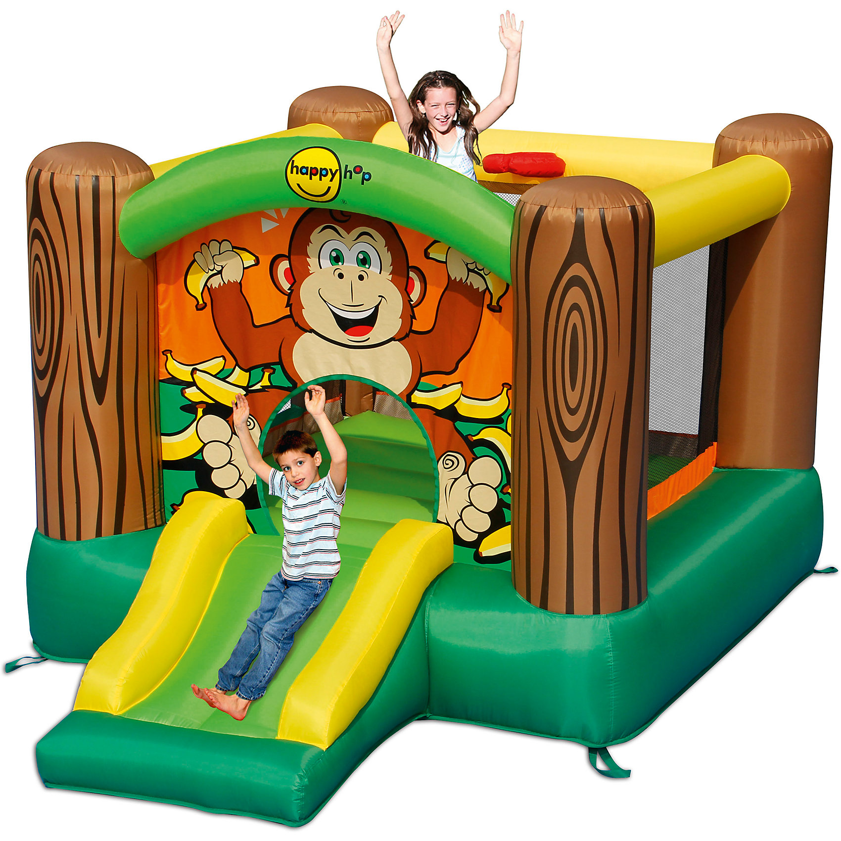 Надувной батут с горкой Дружба, Happy HopБатуты<br>Характеристики:<br><br>• возраст ребенка: от 3 до 10 лет;<br>• рост ребенка: 90-150 см;<br>• вес одного ребенка: до 45 кг;<br>• количество играющих одновременно детей: 2;<br>• максимальный вес: 90 кг (при этом вес каждого ребенка не должен превышать 45 кг).<br><br>Размеры:<br><br>• размер игрового комплекса: 300х225х175 см;<br>• размер батута: 225х218 см;<br>• высота основания батута: 40 см;<br>• высота прыжковой поверхности: 154х149 см;<br>• размер горки: 85х80 см;<br>• ширина скользящей поверхности: 55 см;<br>• высота защитной сетки-ограждения: 120 см;<br>• прочность батута на растяжение: до 136 кг;<br>• прочность на разрыв: до 14 кг;<br>• прочность на соединение: до 27 кг;<br>• диапазон температур для батута: от -10 до +40 градусов;<br>• диапазон температур для насоса: от -15 до +40 градусов;<br>• размер упаковки: 38х38х53 см;<br>• вес в упаковке: 13,5 кг.<br><br>Дополнительная информация:<br><br>• материал: ламинированный ПВХ, ламинированная ткань Оксфорд;<br>• плотность: ПВХ 360 г/м2, ткани Оксфорд 215 г/м2;<br>• материал застежек: лавсан;<br>• крепеж к земле: пластик;<br>• технология изготовления продукции: машинное сшивание путем соединения тканей ПВХ и Оксфорд.<br><br>Меры предосторожности:<br><br>• использование: установка на открытом воздухе;<br>• только для бытового применения;<br>• при установке батута, изделие обязательно следует крепить пластиковыми кольями к земле.<br><br>Рекомендации от производителя: в течение всего времени использования продукции HAPPY HOP необходимо поддерживать подачу воздуха и обеспечивать непрерывную работу насоса. <br><br>Надувной батут с горкой Дружба, Happy Hop можно купить в нашем интернет-магазине.<br><br>Ширина мм: 620<br>Глубина мм: 320<br>Высота мм: 370<br>Вес г: 14500<br>Возраст от месяцев: 36<br>Возраст до месяцев: 120<br>Пол: Унисекс<br>Возраст: Детский<br>SKU: 5530638