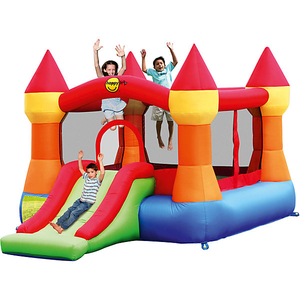 Надувной батут с горкой Супер прыжок, Happy HopБатуты<br>Характеристики:<br><br>• возраст ребенка: от 3 до 10 лет;<br>• рост ребенка: 90-150 см;<br>• вес одного ребенка: до 45 кг;<br>• количество играющих одновременно детей: 3;<br>• максимальный вес: 113 кг (при этом вес каждого ребенка не должен превышать показатели: если играют двое детей - 45 кг, если играют трое детей - 38 кг).<br><br>Размеры:<br><br>• размер игрового комплекса: 365х265х215 см;<br>• размер батута: 250х240 см;<br>• высота основания батута: 40 см;<br>• высота прыжковой поверхности: 190х185 см;<br>• размер горки: 125х86 см;<br>• ширина скользящей поверхности: 55 см;<br>• высота защитной сетки-ограждения: 115 см;<br>• прочность батута на растяжение: до 136 кг;<br>• прочность на разрыв: до 14 кг;<br>• прочность на соединение: до 27 кг;<br>• диапазон температур для батута: от -10 до +40 градусов;<br>• диапазон температур для насоса: от -15 до +40 градусов;<br>• размер упаковки: 38х38х54 см;<br>• вес в упаковке: 17,5 кг.<br><br>Дополнительная информация:<br><br>• материал: ламинированный ПВХ, ламинированная ткань Оксфорд;<br>• плотность: ПВХ 360 г/м2, ткани Оксфорд 215 г/м2;<br>• материал застежек: лавсан;<br>• крепеж к земле: пластик;<br>• технология изготовления продукции: машинное сшивание путем соединения тканей ПВХ и Оксфорд.<br><br>Меры предосторожности:<br><br>• использование: установка на открытом воздухе;<br>• только для бытового применения;<br>• при установке батута, изделие обязательно следует крепить пластиковыми кольями к земле.<br><br>Рекомендации от производителя: в течение всего времени использования продукции HAPPY HOP необходимо поддерживать подачу воздуха и обеспечивать непрерывную работу насоса. <br><br>Надувной батут с горкой Супер прыжок, Happy Hop можно купить в нашем интернет-магазине.<br>Ширина мм: 670; Глубина мм: 320; Высота мм: 370; Вес г: 17500; Возраст от месяцев: 36; Возраст до месяцев: 120; Пол: Унисекс; Возраст: Детский; SKU: 5530642;