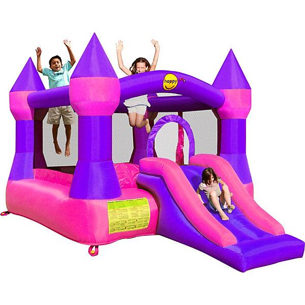 Надувной батут с горкой Супер прыжок, Happy HopБатуты<br>Характеристики:<br><br>• возраст ребенка: от 3 до 10 лет;<br>• рост ребенка: 90-150 см;<br>• вес одного ребенка: до 45 кг;<br>• количество играющих одновременно детей: 3;<br>• максимальный вес: 113 кг (при этом вес каждого ребенка не должен превышать показатели: если играют двое детей - 45 кг, если играют трое детей - 38 кг).<br><br>Размеры:<br><br>• размер игрового комплекса: 365х265х215 см;<br>• размер батута: 250х240 см;<br>• высота основания батута: 40 см;<br>• высота прыжковой поверхности: 190х185 см;<br>• размер горки: 125х86 см;<br>• ширина скользящей поверхности: 55 см;<br>• высота защитной сетки-ограждения: 115 см;<br>• прочность батута на растяжение: до 136 кг;<br>• прочность на разрыв: до 14 кг;<br>• прочность на соединение: до 27 кг;<br>• диапазон температур для батута: от -10 до +40 градусов;<br>• диапазон температур для насоса: от -15 до +40 градусов;<br>• размер упаковки: 38х38х54 см;<br>• вес в упаковке: 17,5 кг.<br><br>Дополнительная информация:<br><br>• материал: ламинированный ПВХ, ламинированная ткань Оксфорд;<br>• плотность: ПВХ 360 г/м2, ткани Оксфорд 215 г/м2;<br>• материал застежек: лавсан;<br>• крепеж к земле: пластик;<br>• технология изготовления продукции: машинное сшивание путем соединения тканей ПВХ и Оксфорд.<br><br>Меры предосторожности:<br><br>• использование: установка на открытом воздухе;<br>• только для бытового применения;<br>• при установке батута, изделие обязательно следует крепить пластиковыми кольями к земле.<br><br>Рекомендации от производителя: в течение всего времени использования продукции HAPPY HOP необходимо поддерживать подачу воздуха и обеспечивать непрерывную работу насоса. <br><br>Надувной батут с горкой Супер прыжок, Happy Hop можно купить в нашем интернет-магазине.<br>Ширина мм: 670; Глубина мм: 320; Высота мм: 370; Вес г: 17500; Возраст от месяцев: 36; Возраст до месяцев: 120; Пол: Женский; Возраст: Детский; SKU: 5530643;