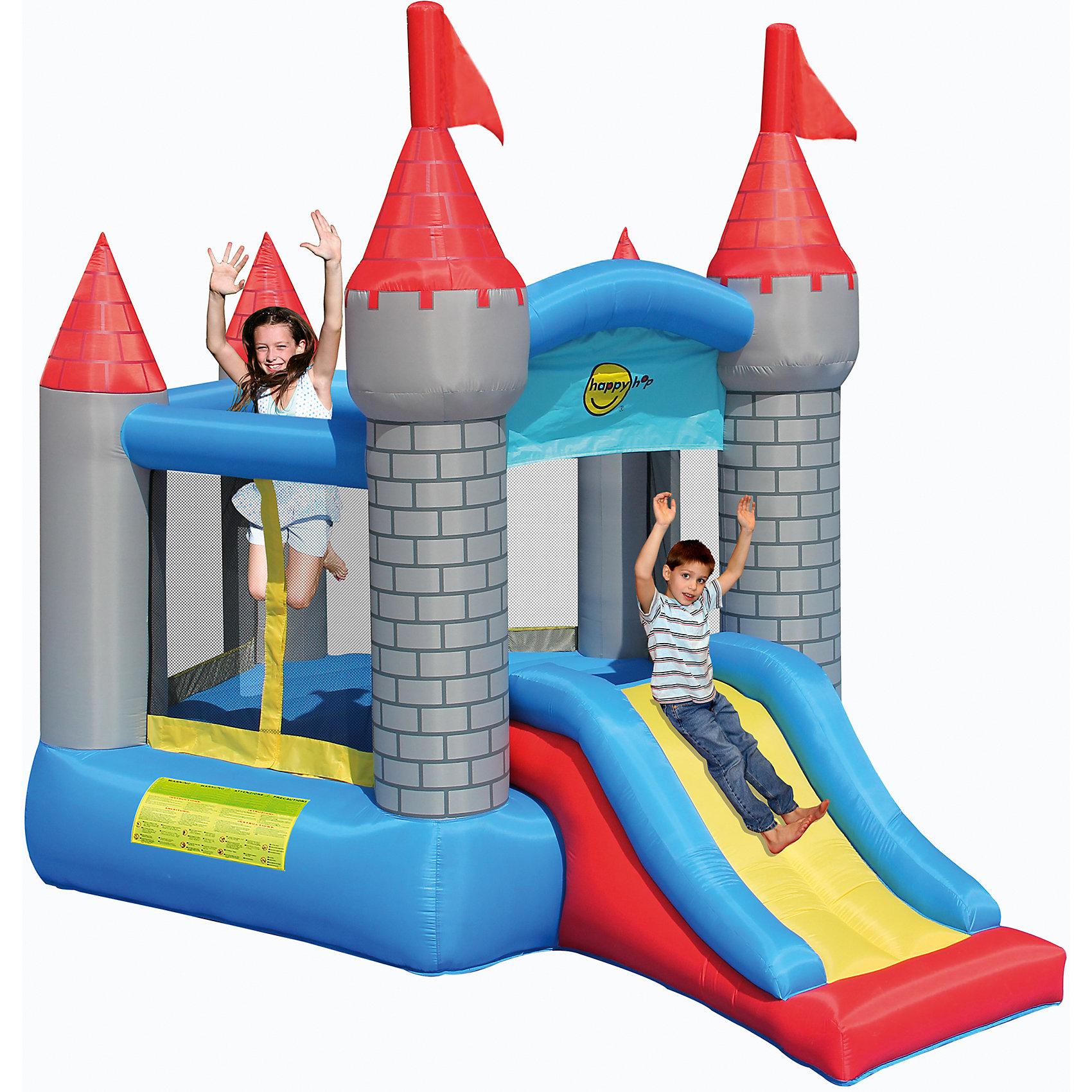 Надувной батут с горкой Крепость, Happy HopБатуты<br>Характеристики:<br><br>• возраст ребенка: от 3 до 10 лет;<br>• рост ребенка: 90-150 см;<br>• вес одного ребенка: до 45 кг;<br>• количество играющих одновременно детей: 3;<br>• максимальный вес: 113 кг (при этом вес каждого ребенка не должен превышать показатели: если играют двое детей - 45 кг, если играют трое детей - 38 кг).<br><br>Размеры:<br><br>• размер игрового комплекса: 375х275х275 см;<br>• размер батута: 269х258 см;<br>• высота основания батута: 45 см;<br>• высота прыжковой поверхности: 212х196 см;<br>• размер горки: 113х86 см;<br>• высота площадки горки: 67 см;<br>• ширина скользящей поверхности: 56 см;<br>• высота защитной сетки-ограждения: 90 см;<br>• прочность батута на растяжение: до 136 кг;<br>• прочность на разрыв: до 13,6 кг;<br>• прочность на соединение: до 27,2 кг;<br>• диапазон температур для батута: от -10 до +40 градусов;<br>• диапазон температур для насоса: от -15 до +40 градусов;<br>• размер упаковки: 38х38х60 см;<br>• вес в упаковке: 17 кг.<br><br>Дополнительная информация:<br><br>• материал: ламинированный ПВХ, ламинированная ткань Оксфорд;<br>• плотность: ПВХ 360 г/м2, ткани Оксфорд 215 г/м2;<br>• материал застежек: лавсан;<br>• крепеж к земле: пластик;<br>• технология изготовления продукции: машинное сшивание путем соединения тканей ПВХ и Оксфорд.<br><br>Меры предосторожности:<br><br>• использование: установка на открытом воздухе;<br>• только для бытового применения;<br>• при установке батута, изделие обязательно следует крепить пластиковыми кольями к земле.<br><br>Рекомендации от производителя: в течение всего времени использования продукции HAPPY HOP необходимо поддерживать подачу воздуха и обеспечивать непрерывную работу насоса. <br><br>Надувной батут с горкой Крепость, Happy Hop можно купить в нашем интернет-магазине.<br><br>Ширина мм: 670<br>Глубина мм: 320<br>Высота мм: 370<br>Вес г: 17000<br>Возраст от месяцев: 36<br>Возраст до месяцев: 120<br>Пол: Унисекс<br>Возраст: Детский<br>S