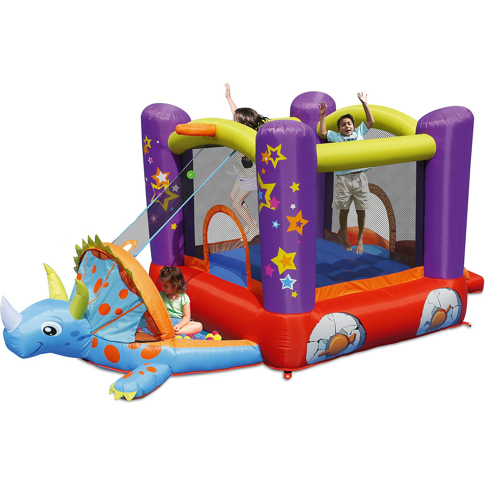 Надувной батут с горкой Динозаврик, Happy HopБатуты<br>Характеристики:<br><br>• возраст ребенка: от 3 до 10 лет;<br>• рост ребенка: 90-150 см;<br>• вес одного ребенка: до 45 кг;<br>• количество играющих одновременно детей: 3;<br>• максимальный вес: 113 кг (при этом вес каждого ребенка не должен превышать 45 кг, если играют двое детей и 38 кг, если играют трое детей).<br><br>Размеры:<br><br>• размер игрового комплекса: 450х220х180 см;<br>• размер батута: 195х220 см;<br>• высота основания батута: 41 см;<br>• высота прыжковой поверхности: 155х165 см;<br>• размер горки: 80х85 см;<br>• высота площадки горки: 41 см;<br>• ширина скользящей поверхности: 55 см;<br>• высота защитной сетки-ограждения: 110 см;<br>• прочность батута на растяжение: до 136 кг;<br>• прочность на разрыв: до 14 кг;<br>• прочность на соединение: до 27 кг;<br>• диапазон температур для батута: от -10 до +40 градусов;<br>• диапазон температур для насоса: от -15 до +40 градусов;<br>• размер упаковки: 38х38х53 см;<br>• вес в упаковке: 13,5 кг.<br><br>Дополнительная информация:<br><br>• материал: ламинированный ПВХ, ламинированная ткань Оксфорд;<br>• плотность: ПВХ 360 г/м2, ткани Оксфорд 215 г/м2;<br>• материал застежек: лавсан;<br>• крепеж к земле: пластик;<br>• технология изготовления продукции: машинное сшивание путем соединения тканей ПВХ и Оксфорд.<br><br>Меры предосторожности:<br><br>• использование: установка на открытом воздухе;<br>• только для бытового применения;<br>• при установке батута, изделие обязательно следует крепить пластиковыми кольями к земле.<br><br>Рекомендации от производителя: в течение всего времени использования продукции HAPPY HOP необходимо поддерживать подачу воздуха и обеспечивать непрерывную работу насоса. <br><br>Надувной батут с горкой Динозаврик, Happy Hop можно купить в нашем интернет-магазине.<br><br>Ширина мм: 700<br>Глубина мм: 320<br>Высота мм: 370<br>Вес г: 17000<br>Возраст от месяцев: 36<br>Возраст до месяцев: 120<br>Пол: Унисекс<br>Возраст: Детский<br>SKU: 5530649