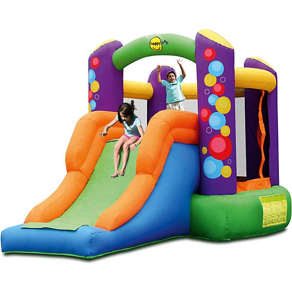 Надувной батут с горкой Воздушные шары, Happy HopБатуты<br>Характеристики:<br><br>• возраст ребенка: от 3 до 10 лет;<br>• рост ребенка: 90-150 см;<br>• вес одного ребенка: до 45 кг;<br>• количество играющих одновременно детей: 2;<br>• максимальный вес: 90 кг (при этом вес каждого ребенка не должен превышать 45 кг). <br><br>Размеры:<br><br>• размер игрового комплекса: 350х210х200 см;<br>• размер батута: 210х195 см;<br>• высота основания батута: 40 см;<br>• высота прыжковой поверхности: 175х150 см;<br>• высота защитной сетки-ограждения: 100 см;<br>• размер горки: 160х85 см;<br>• высота площадки горки: 40 см;<br>• ширина скользящей поверхности: 55 см;<br>• прочность батута на растяжение: до 136 кг;<br>• прочность на разрыв: до 13,6 кг;<br>• прочность на соединение: до 27,2 кг;<br>• диапазон температур для батута: от -10 до +40 градусов;<br>• диапазон температур для насоса: от -15 до +40 градусов;<br>• размер упаковки: 45х43х58 см;<br>• вес в упаковке: 19 кг.<br><br>Дополнительная информация:<br><br>• материал: ламинированный ПВХ, ламинированная ткань Оксфорд;<br>• плотность: ПВХ 360 г/м2, ткани Оксфорд 215 г/м2;<br>• материал застежек: лавсан;<br>• крепеж к земле: пластик;<br>• технология изготовления продукции: машинное сшивание путем соединения тканей ПВХ и Оксфорд.<br><br>Меры предосторожности:<br><br>• использование: установка на открытом воздухе;<br>• только для бытового применения;<br>• при установке батута, изделие обязательно следует крепить пластиковыми кольями к земле.<br><br>Рекомендации от производителя: в течение всего времени использования продукции HAPPY HOP необходимо поддерживать подачу воздуха и обеспечивать непрерывную работу насоса. <br><br>Надувной батут с горкой Воздушные шары, Happy Hop можно купить в нашем интернет-магазине.<br>Ширина мм: 600; Глубина мм: 450; Высота мм: 430; Вес г: 19000; Возраст от месяцев: 36; Возраст до месяцев: 120; Пол: Унисекс; Возраст: Детский; SKU: 5530652;