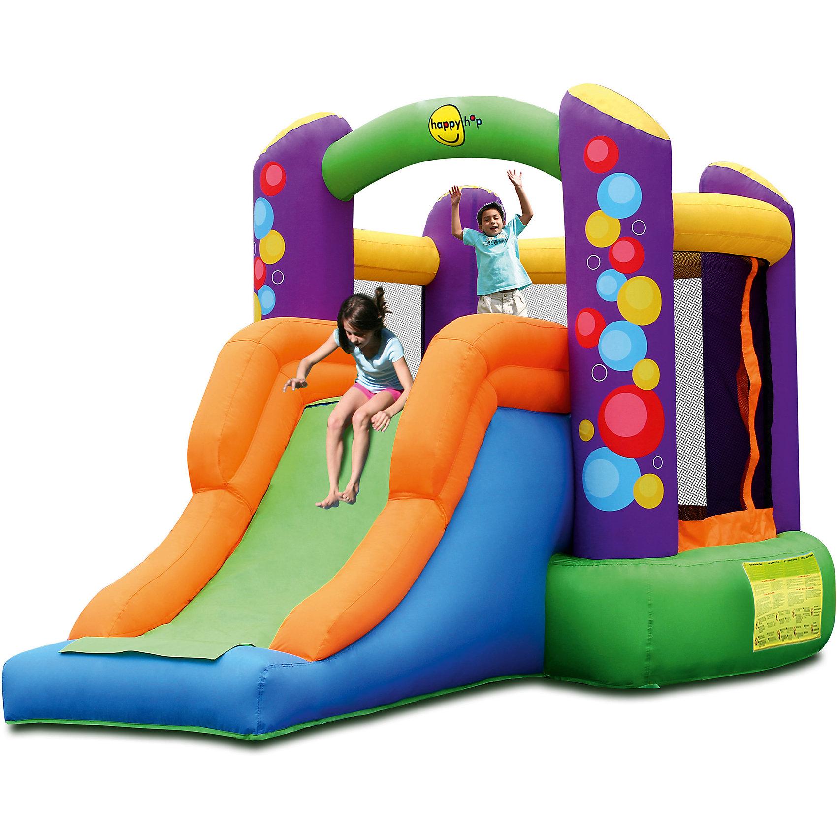 Надувной батут с горкой Воздушные шары, Happy HopБатуты<br>Характеристики:<br><br>• возраст ребенка: от 3 до 10 лет;<br>• рост ребенка: 90-150 см;<br>• вес одного ребенка: до 45 кг;<br>• количество играющих одновременно детей: 2;<br>• максимальный вес: 90 кг (при этом вес каждого ребенка не должен превышать 45 кг). <br><br>Размеры:<br><br>• размер игрового комплекса: 350х210х200 см;<br>• размер батута: 210х195 см;<br>• высота основания батута: 40 см;<br>• высота прыжковой поверхности: 175х150 см;<br>• высота защитной сетки-ограждения: 100 см;<br>• размер горки: 160х85 см;<br>• высота площадки горки: 40 см;<br>• ширина скользящей поверхности: 55 см;<br>• прочность батута на растяжение: до 136 кг;<br>• прочность на разрыв: до 13,6 кг;<br>• прочность на соединение: до 27,2 кг;<br>• диапазон температур для батута: от -10 до +40 градусов;<br>• диапазон температур для насоса: от -15 до +40 градусов;<br>• размер упаковки: 45х43х58 см;<br>• вес в упаковке: 19 кг.<br><br>Дополнительная информация:<br><br>• материал: ламинированный ПВХ, ламинированная ткань Оксфорд;<br>• плотность: ПВХ 360 г/м2, ткани Оксфорд 215 г/м2;<br>• материал застежек: лавсан;<br>• крепеж к земле: пластик;<br>• технология изготовления продукции: машинное сшивание путем соединения тканей ПВХ и Оксфорд.<br><br>Меры предосторожности:<br><br>• использование: установка на открытом воздухе;<br>• только для бытового применения;<br>• при установке батута, изделие обязательно следует крепить пластиковыми кольями к земле.<br><br>Рекомендации от производителя: в течение всего времени использования продукции HAPPY HOP необходимо поддерживать подачу воздуха и обеспечивать непрерывную работу насоса. <br><br>Надувной батут с горкой Воздушные шары, Happy Hop можно купить в нашем интернет-магазине.<br><br>Ширина мм: 600<br>Глубина мм: 450<br>Высота мм: 430<br>Вес г: 19000<br>Возраст от месяцев: 36<br>Возраст до месяцев: 120<br>Пол: Унисекс<br>Возраст: Детский<br>SKU: 5530652