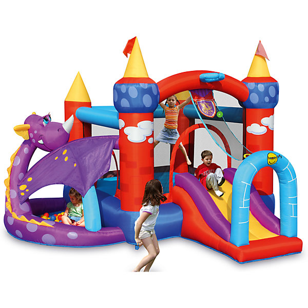 Надувной батут с горкой Дракоша, Happy HopБатуты<br>Характеристики:<br><br>• возраст ребенка: от 3 до 10 лет;<br>• рост ребенка: 90-150 см;<br>• вес одного ребенка: до 45 кг;<br>• количество играющих одновременно детей: 5;<br>• максимальный вес: 135 кг (при этом вес каждого ребенка не должен превышать 45 кг, если играют трое детей, 27 кг - если играют пятеро детей). <br><br>Размеры:<br><br>• размер игрового комплекса: 350х350х245 см;<br>• размер батута: 227х233 см;<br>• высота основания батута: 40 см;<br>• высота прыжковой поверхности: 193х187 см;<br>• высота защитной сетки-ограждения: 92 см;<br>• размер горки: 112х86 см;<br>• высота площадки горки: 64 см;<br>• ширина скользящей поверхности: 56 см;<br>• прочность батута на растяжение: до 136 кг;<br>• прочность на разрыв: до 13,6 кг;<br>• прочность на соединение: до 27,2 кг;<br>• диапазон температур для батута: от -10 до +40 градусов;<br>• диапазон температур для насоса: от -15 до +40 градусов;<br>• размер упаковки: 72х45х43 см;<br>• вес в упаковке: 22 кг.<br><br>Дополнительная информация:<br><br>• материал: ламинированный ПВХ, ламинированная ткань Оксфорд;<br>• плотность: ПВХ 360 г/м2, ткани Оксфорд 215 г/м2;<br>• материал застежек: лавсан;<br>• крепеж к земле: пластик;<br>• технология изготовления продукции: машинное сшивание путем соединения тканей ПВХ и Оксфорд.<br><br>Меры предосторожности:<br><br>• использование: установка на открытом воздухе;<br>• только для бытового применения;<br>• при установке батута, изделие обязательно следует крепить пластиковыми кольями к земле.<br><br>Рекомендации от производителя: в течение всего времени использования продукции HAPPY HOP необходимо поддерживать подачу воздуха и обеспечивать непрерывную работу насоса. <br><br>Надувной батут с горкой Дракоша Happy Hop можно купить в нашем интернет-магазине.<br>Ширина мм: 720; Глубина мм: 450; Высота мм: 430; Вес г: 22000; Возраст от месяцев: 36; Возраст до месяцев: 120; Пол: Унисекс; Возраст: Детский; SKU: 5530660;