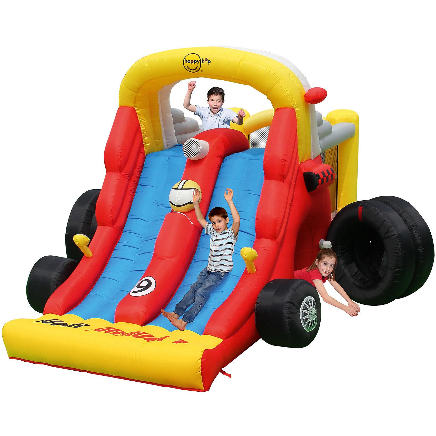 Надувной батут с двойной горкой Формула 1, Happy HopБатуты<br>Характеристики:<br><br>• возраст ребенка: от 3 до 10 лет;<br>• рост ребенка: 90-150 см;<br>• вес одного ребенка: до 45 кг;<br>• количество играющих одновременно детей: 4;<br>• максимальный вес: 180 кг (при этом вес каждого ребенка не должен превышать 45 кг).<br><br>Размеры:<br><br>• размер игрового комплекса: 460х310х250 см;<br>• размер батута: 136х185 см;<br>• высота основания батута: 45 см;<br>• высота прыжковой поверхности: 117х145 см;<br>• высота защитной сетки-ограждения: 117 см;<br>• размер горки: 317х185 см;<br>• высота площадки горки: 145 см;<br>• ширина скользящей поверхности: 45 см;<br>• прочность батута на растяжение: до 136 кг;<br>• прочность на разрыв: до 13,6 кг;<br>• прочность на соединение: до 27,2 кг;<br>• диапазон температур для батута: от -10 до +40 градусов;<br>• диапазон температур для насоса: от -15 до +40 градусов;<br>• размер упаковки: 80х45х43 см;<br>• вес в упаковке: 29,5 кг.<br><br>Дополнительная информация:<br><br>• материал: ламинированный ПВХ, ламинированная ткань Оксфорд;<br>• плотность: ПВХ 360 г/м2, ткани Оксфорд 215 г/м2;<br>• материал застежек: лавсан;<br>• крепеж к земле: пластик;<br>• технология изготовления продукции: машинное сшивание путем соединения тканей ПВХ и Оксфорд.<br><br>Меры предосторожности:<br><br>• использование: установка на открытом воздухе;<br>• только для бытового применения;<br>• при установке батута, изделие обязательно следует крепить пластиковыми кольями к земле.<br><br>Рекомендации от производителя: в течение всего времени использования продукции HAPPY HOP необходимо поддерживать подачу воздуха и обеспечивать непрерывную работу насоса. <br><br>Надувной батут с двойной горкой Формула 1 Happy Hop можно купить в нашем интернет-магазине.<br><br>Ширина мм: 800<br>Глубина мм: 450<br>Высота мм: 430<br>Вес г: 29500<br>Возраст от месяцев: 36<br>Возраст до месяцев: 120<br>Пол: Унисекс<br>Возраст: Детский<br>SKU: 5530661