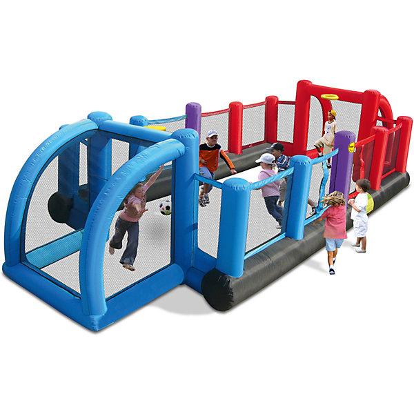 Надувное сооружение для футбола, Happy HopДомики<br>Характеристики:<br><br>• возраст ребенка: от 3 до 10 лет;<br>• рост ребенка: 90-150 см;<br>• вес одного ребенка: без ограничения;<br>• количество играющих одновременно детей: 10;<br>• максимальный вес: без ограничения.<br><br>Размеры:<br><br>• размер игрового комплекса: 800х335х180 см;<br>• размер упаковки: 38х38х70 см;<br>• вес в упаковке: 22 кг.<br><br>Дополнительная информация:<br><br>• материал: ламинированный ПВХ, ламинированная ткань Оксфорд;<br>• плотность: ПВХ 360 г/м2, ткани Оксфорд 215 г/м2;<br>• материал застежек: лавсан;<br>• крепеж к земле: пластик;<br>• технология изготовления продукции: машинное сшивание путем соединения тканей ПВХ и Оксфорд.<br><br>Меры предосторожности:<br><br>• использование: установка на открытом воздухе;<br>• только для бытового применения;<br>• при установке батута, изделие обязательно следует крепить пластиковыми кольями к земле.<br><br>Рекомендации от производителя: в течение всего времени использования продукции HAPPY HOP необходимо поддерживать подачу воздуха и обеспечивать непрерывную работу насоса. <br><br>Надувное сооружение для футбола, Happy Hop можно купить в нашем интернет-магазине.<br>Ширина мм: 880; Глубина мм: 320; Высота мм: 370; Вес г: 22000; Возраст от месяцев: 36; Возраст до месяцев: 120; Пол: Унисекс; Возраст: Детский; SKU: 5530699;