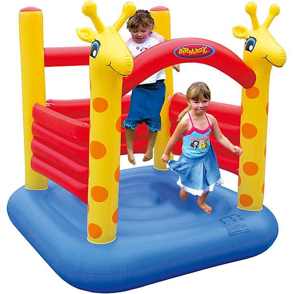 Жирафик, AirmagicИгровые центры<br>Характеристики:<br><br>• возраст ребенка: от 3 до 5 лет;<br>• рост ребенка: 90-150 см;<br>• количество играющих одновременно детей: 2;<br>• максимальная нагрузка: 50 кг.<br><br>Размеры:<br><br>• размер игрового комплекса: 150х150х165 см;<br>• размер упаковки: 46х38х18 см;<br>• вес в упаковке: 6 кг.<br><br>Дополнительная информация:<br><br>• материал: ламинированный ПВХ, ламинированная ткань Оксфорд;<br>• плотность: ПВХ 360 г/м2, ткани Оксфорд 215 г/м2;<br>• материал застежек: лавсан;<br>• крепеж к земле: пластик;<br>• технология изготовления продукции: машинное сшивание путем соединения тканей ПВХ и Оксфорд.<br><br>Меры предосторожности:<br><br>• использование: установка на открытом воздухе;<br>• только для бытового применения;<br>• при установке батута, изделие обязательно следует крепить пластиковыми кольями к земле.<br><br>Рекомендации от производителя: в течение всего времени использования продукции HAPPY HOP необходимо поддерживать подачу воздуха и обеспечивать непрерывную работу насоса. <br><br>Надувной батут Жирафик, Airmagic можно купить в нашем интернет-магазине.<br>Ширина мм: 460; Глубина мм: 380; Высота мм: 180; Вес г: 6000; Возраст от месяцев: 36; Возраст до месяцев: 60; Пол: Унисекс; Возраст: Детский; SKU: 5530701;