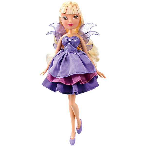 Кукла Стелла Волшебное платье, Winx ClubИгрушки<br>Характеристики товара:<br><br>• возраст: от 3 лет;<br>• материал: пластик, текстиль;<br>• в комплекте: кукла, платье, 2 заколки;<br>• высота куклы: 27 см;<br>• размер упаковки: 35,5х21х6 см;<br>• вес упаковки: 304 гр.;<br>• страна производитель: Китай.<br><br>Кукла Стелла «Волшебное платье» Winx Club создана по мотивам известного мультсериала «Клуб Винкс: Школа волшебниц» про очаровательных фей-волшебниц. Стелла — лучшая подруга главной героини Блум, с которой она любит смотреть комедии, устраивать вечеринки и ходить по магазинам. <br><br>У феи карие выразительные глаза и светлые волосы с челкой. Аксессуары для волос помогут девочке придумать для Стеллы оригинальный и яркий образ. Одета кукла в фиолетовое платье с пышной юбкой, дополненное крылышками на спине. Платье одним движением превращается в длинное элегантное вечернее платье. У куклы несколько точек артикуляции. Руки сгибаются в локтях и плечах, ноги в бедрах и коленях. <br><br>Куклу Стеллу «Волшебное платье» Winx Club можно приобрести в нашем интернет-магазине.<br>Ширина мм: 60; Глубина мм: 355; Высота мм: 210; Вес г: 304; Возраст от месяцев: 36; Возраст до месяцев: 2147483647; Пол: Женский; Возраст: Детский; SKU: 5532627;