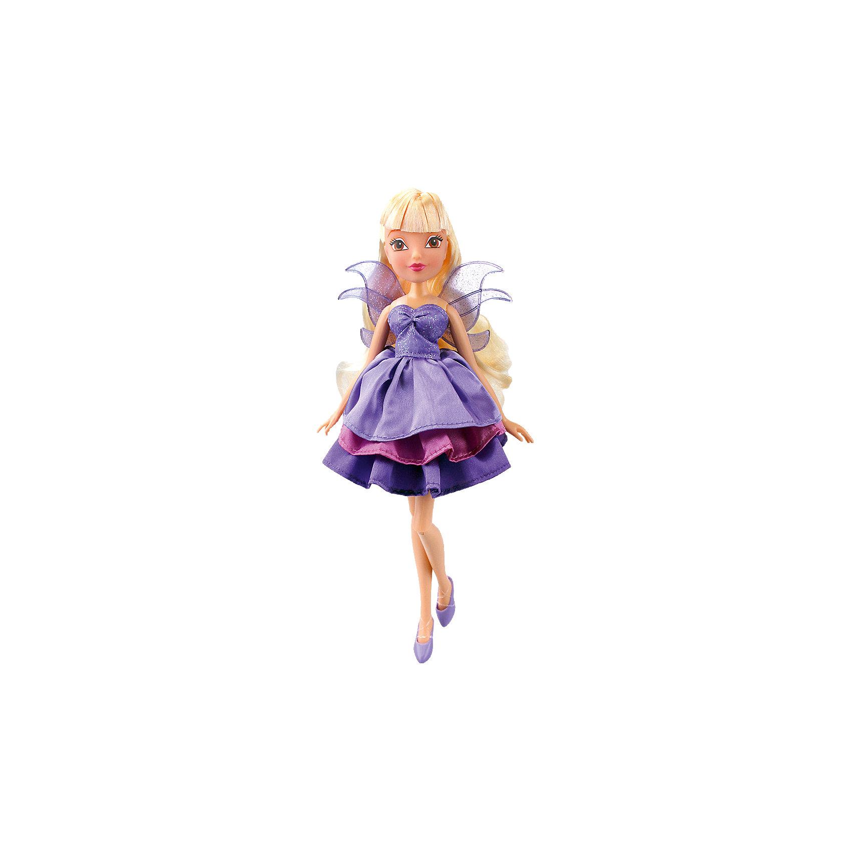 Кукла Стелла Волшебное платье, Winx ClubКуклы-модели<br>Характеристики товара:<br><br>• возраст: от 3 лет;<br>• материал: пластик, текстиль;<br>• в комплекте: кукла, платье, 2 заколки;<br>• высота куклы: 27 см;<br>• размер упаковки: 35,5х21х6 см;<br>• вес упаковки: 304 гр.;<br>• страна производитель: Китай.<br><br>Кукла Стелла «Волшебное платье» Winx Club создана по мотивам известного мультсериала «Клуб Винкс: Школа волшебниц» про очаровательных фей-волшебниц. Стелла — лучшая подруга главной героини Блум, с которой она любит смотреть комедии, устраивать вечеринки и ходить по магазинам. <br><br>У феи карие выразительные глаза и светлые волосы с челкой. Аксессуары для волос помогут девочке придумать для Стеллы оригинальный и яркий образ. Одета кукла в фиолетовое платье с пышной юбкой, дополненное крылышками на спине. Платье одним движением превращается в длинное элегантное вечернее платье. У куклы несколько точек артикуляции. Руки сгибаются в локтях и плечах, ноги в бедрах и коленях. <br><br>Куклу Стеллу «Волшебное платье» Winx Club можно приобрести в нашем интернет-магазине.<br><br>Ширина мм: 60<br>Глубина мм: 355<br>Высота мм: 210<br>Вес г: 304<br>Возраст от месяцев: 36<br>Возраст до месяцев: 2147483647<br>Пол: Женский<br>Возраст: Детский<br>SKU: 5532627