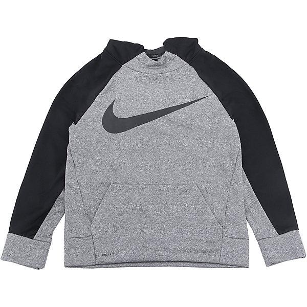 Толстовка NIKEСпортивная форма<br>Характеристики товара:<br><br>• цвет: серый<br>• спортивный стиль<br>• состав: 100% полиэстер, материал Nike Therma<br>• ткань регулирует выделяемое телом тепло<br>• комфортная посадка<br>• капюшон<br>• карман<br>• принт<br>• машинная стирка<br>• износостойкий материал<br>• коллекция: весна-лето 2017<br>• страна бренда: США<br>• страна изготовитель: Индонезия<br><br>Продукция бренда NIKE известна высоким качеством и уникальным узнаваемым дизайном. Материал, из которого сшито изделие, помогает регулировать выделяемое телом тепло для защиты от холода.<br><br>Материал Nike Therma обеспечивает вещам долгий срок службы и отличный внешний вид даже после значительного количества стирок. Уход за изделием прост - достаточно машинной стирки на низкой температуре.<br><br>Легкий и качественный материал создает комфортную посадку, вещь при этом смотрится очень стильно. Благодаря универсальному цвету она отлично смотрится с разной одеждой и обувью.<br><br>Джемпер NIKE (Найк) можно купить в нашем интернет-магазине.<br>Ширина мм: 190; Глубина мм: 74; Высота мм: 229; Вес г: 236; Цвет: серый; Возраст от месяцев: 84; Возраст до месяцев: 96; Пол: Унисекс; Возраст: Детский; Размер: 122/128,158/170,146/158,134/140,128/134; SKU: 5532733;