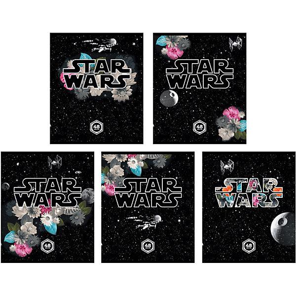 Тетрадь 48 л Звёздные Войны: Вселенная, упаковка из 5 шт.Бумажная продукция<br>Тетрадь 48 листов Звёздные Войны: Вселенная, 5 шт.<br><br>Характеристики:<br><br>• Количество: 5 шт.<br>• Формат: А5<br>• Внутренний блок: 48 листов, клетка, офсет<br>• Тип крепления: скрепка<br>• Обложка: мелованный картон<br><br>Комплект тетрадей в клетку Звёздные Войны: Вселенная выполнен в формате А5. Отличная полиграфия и качественная бумага обеспечат высокое качество письма. Обложка из мелованного картона позволит сохранять тетрадь в аккуратном виде в течение всего периода использования.<br><br>Тетрадь 48 листов Звёздные Войны: Вселенная, 5 шт. можно купить в нашем интернет-магазине.<br>Ширина мм: 170; Глубина мм: 50; Высота мм: 205; Вес г: 521; Возраст от месяцев: 60; Возраст до месяцев: 204; Пол: Унисекс; Возраст: Детский; SKU: 5540114;