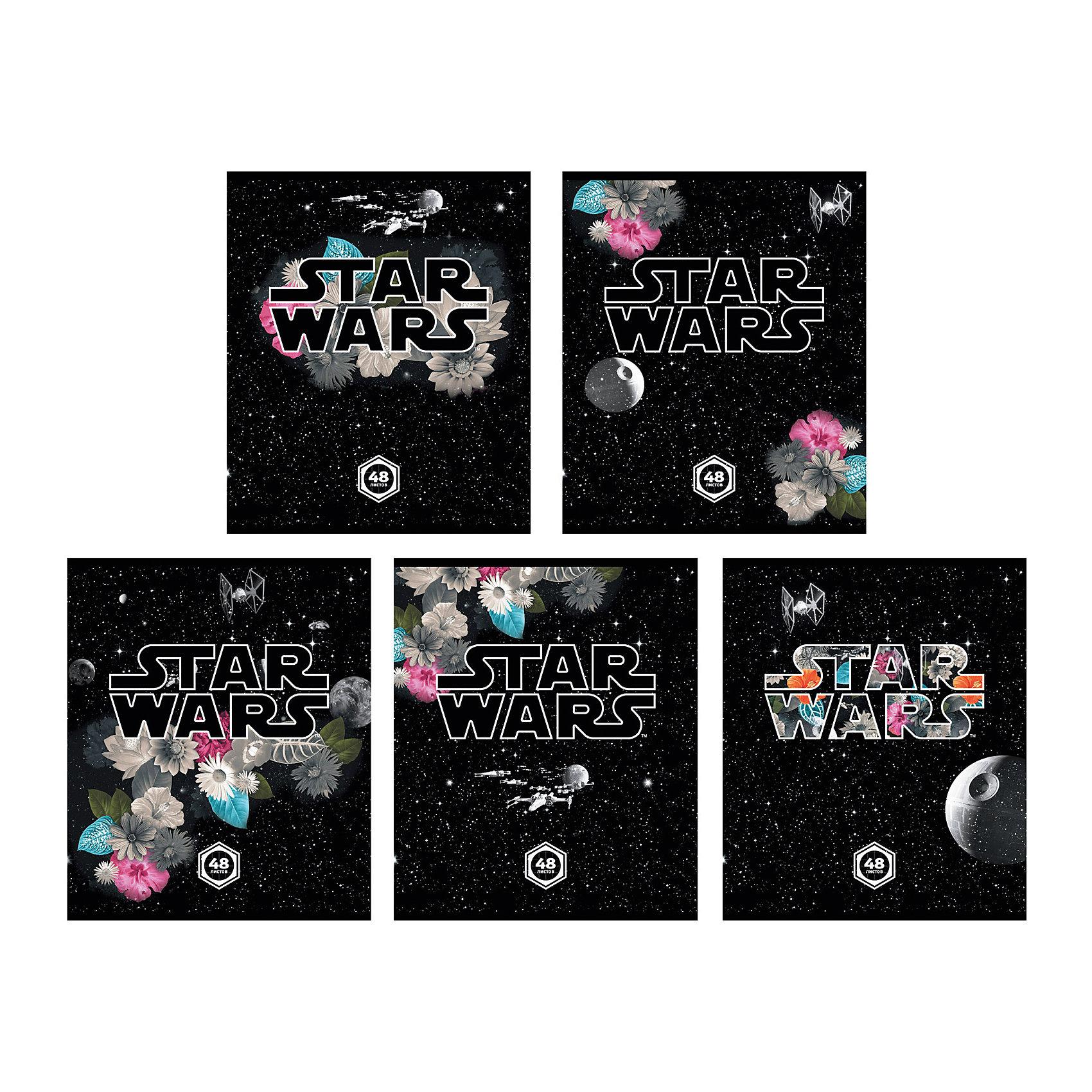 Тетрадь 48 л Звёздные Войны: Вселенная, упаковка из 5 шт.Бумажная продукция<br>Тетрадь 48 листов Звёздные Войны: Вселенная, 5 шт.<br><br>Характеристики:<br><br>• Количество: 5 шт.<br>• Формат: А5<br>• Внутренний блок: 48 листов, клетка, офсет<br>• Тип крепления: скрепка<br>• Обложка: мелованный картон<br><br>Комплект тетрадей в клетку Звёздные Войны: Вселенная выполнен в формате А5. Отличная полиграфия и качественная бумага обеспечат высокое качество письма. Обложка из мелованного картона позволит сохранять тетрадь в аккуратном виде в течение всего периода использования.<br><br>Тетрадь 48 листов Звёздные Войны: Вселенная, 5 шт. можно купить в нашем интернет-магазине.<br><br>Ширина мм: 170<br>Глубина мм: 50<br>Высота мм: 205<br>Вес г: 521<br>Возраст от месяцев: 60<br>Возраст до месяцев: 204<br>Пол: Унисекс<br>Возраст: Детский<br>SKU: 5540114