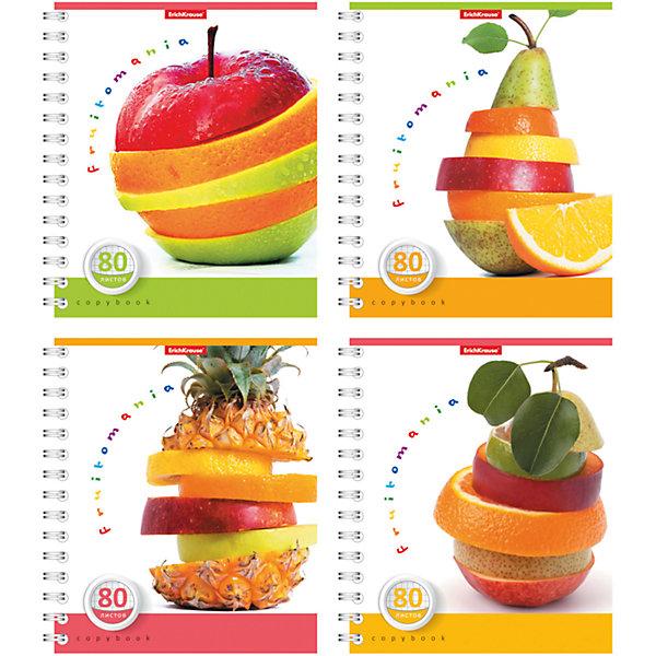 Тетрадь на спирали, 80 листов Fruitomania, УФ-лак, упаковка из 4 шт.Бумажная продукция<br>Тетрадь на спирали, 80 листов Fruitomania, УФ-лак, 4 шт.<br><br>Характеристики:<br><br>• Количество: 4 шт.<br>• Формат: А5<br>• Внутренний блок: 80 листов, клетка, офсет<br>• Тип крепления: евроспираль<br>• Обложка: мелованный картон, УФ-лак<br><br>Комплект тетрадей в клетку Fruitomania выполнен в формате А5. Отличная полиграфия и качественная бумага обеспечат высокое качество письма. Обложка изготовлена из мелованного картона, выборочно покрыта УФ-лаком, что позволит сохранять тетрадь в аккуратном виде в течение всего периода использования. Практичное и надежное крепление – евроспираль - позволит полностью открывать тетрадь и легко отрывать листы.<br><br>Тетрадь на спирали, 80 листов Fruitomania, УФ-лак, 4 шт. можно купить в нашем интернет-магазине.<br>Ширина мм: 175; Глубина мм: 120; Высота мм: 205; Вес г: 713; Возраст от месяцев: 60; Возраст до месяцев: 204; Пол: Унисекс; Возраст: Детский; SKU: 5540122;
