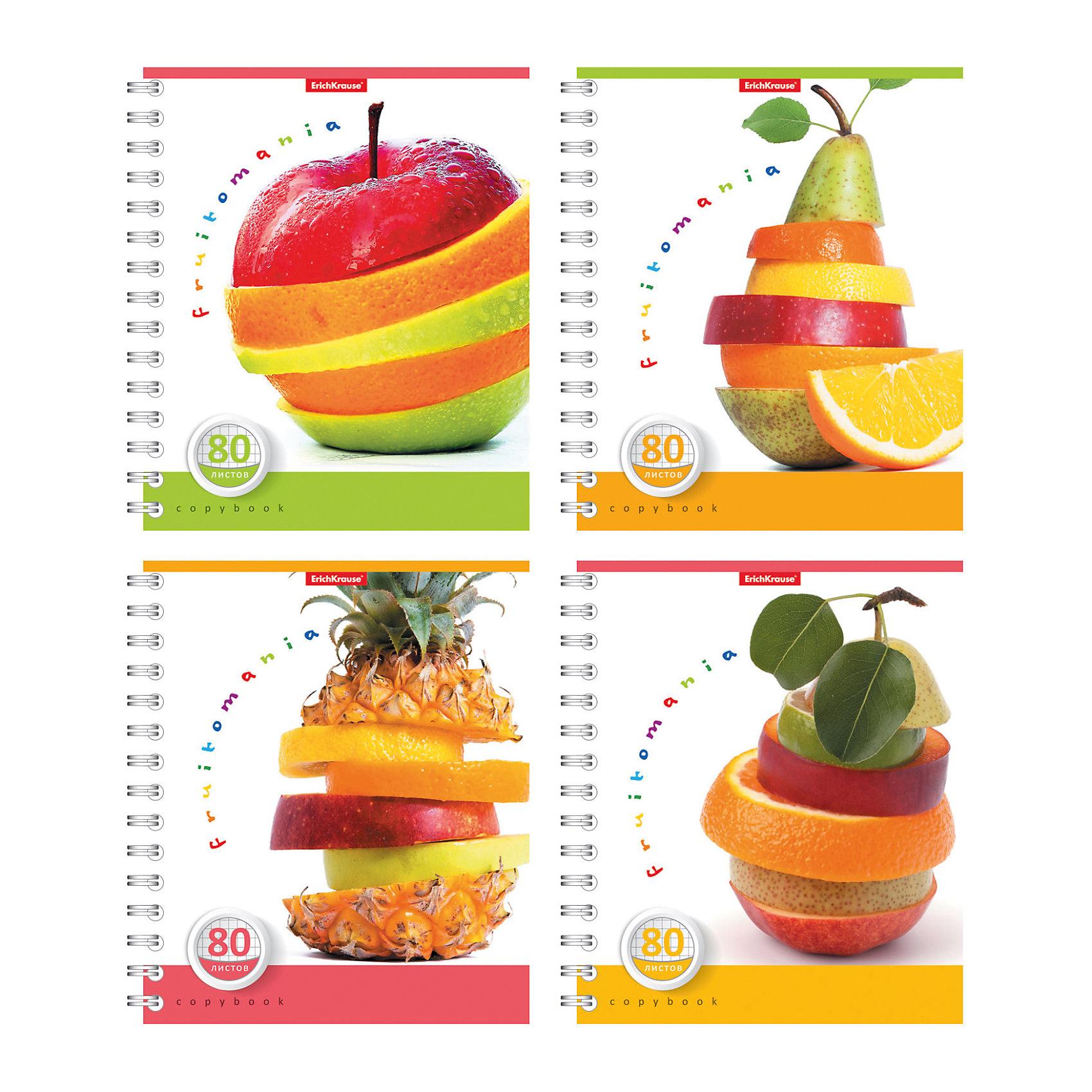 Тетрадь на спирали, 80 листов Fruitomania, УФ-лак, упаковка из 4 шт.Бумажная продукция<br>Тетрадь на спирали,80 листов Fruitomania, УФ-лак, упаковка из 4 шт.<br><br>Ширина мм: 175<br>Глубина мм: 120<br>Высота мм: 205<br>Вес г: 713<br>Возраст от месяцев: 60<br>Возраст до месяцев: 204<br>Пол: Унисекс<br>Возраст: Детский<br>SKU: 5540122