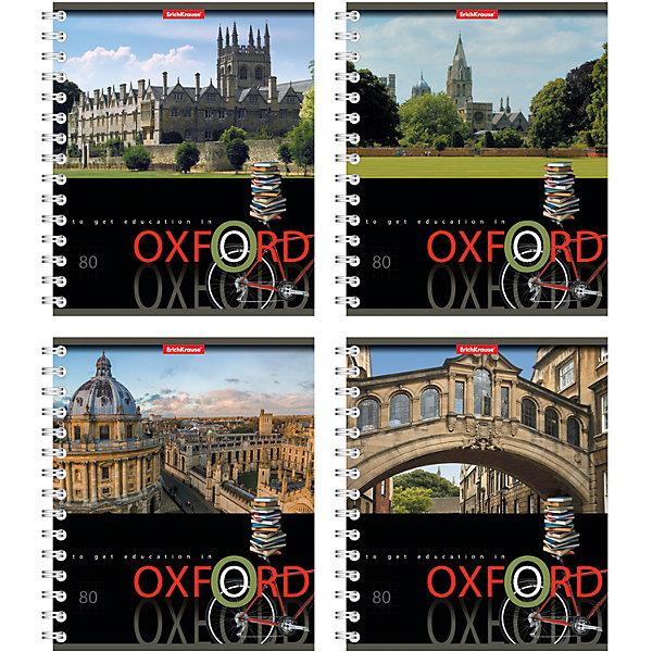 Тетрадь на спирали, 80 листов Oxford, УФ-лак, упаковка из 4 шт.Бумажная продукция<br>Тетрадь на спирали,80л Oxford, УФ-лак, 4 шт.<br><br>Характеристики:<br><br>• Количество: 4 шт.<br>• Формат: А5<br>• Внутренний блок: 80 листов, клетка, офсет<br>• Тип крепления: евроспираль<br>• Обложка: мелованный картон, УФ-лак<br><br>Комплект тетрадей в клетку Oxford выполнен в формате А5. Отличная полиграфия и качественная бумага обеспечат высокое качество письма. Обложка изготовлена из мелованного картона, выборочно покрыта УФ-лаком, что позволит сохранять тетрадь в аккуратном виде в течение всего периода использования. Практичное и надежное крепление – евроспираль - позволит полностью открывать тетрадь и легко отрывать листы.<br><br>Тетрадь на спирали, 80л Oxford, УФ-лак, 4 шт. можно купить в нашем интернет-магазине.<br><br>Ширина мм: 175<br>Глубина мм: 120<br>Высота мм: 205<br>Вес г: 713<br>Возраст от месяцев: 60<br>Возраст до месяцев: 204<br>Пол: Унисекс<br>Возраст: Детский<br>SKU: 5540123