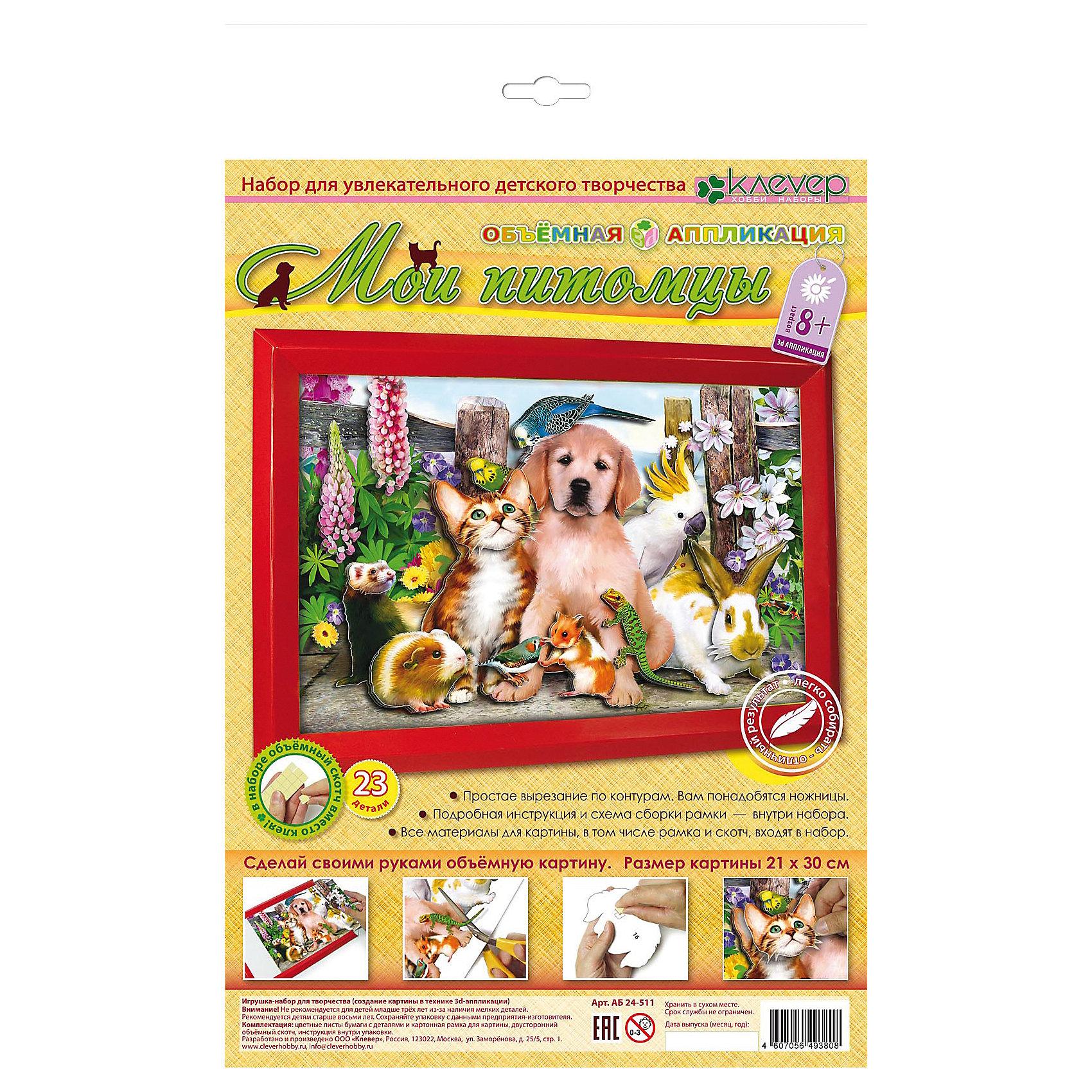 Набор для изготовления картины Мои питомцыРукоделие<br>Характеристики:<br><br>• Коллекция: объемная аппликация<br>• Тематика картины: животные<br>• Уровень сложности: средний<br>• Материал: картон, бумага, скотч, пряжа, игла, бисер<br>• Комплектация: набор цветной бумаги с контурами элементов, картонная основа, рамка, скотч, инструкция<br>• Форма картины: 3d<br>• Размеры готовой картины (Ш*В): 21*30 см<br>• Размеры (Д*Ш*В): 22*34*5 см<br>• Вес: 80 г <br>• Упаковка: картонная коробка<br><br>Уникальность данных наборов заключается в том, что они состоят из материалов разных фактур. Благодаря использованию двухстороннего скотча, рабочее место и одежда ребенка не будет испачкана, а поделка будет выглядеть объемной и аккуратной.<br><br>Набор для изготовления картины Мои питомцы – состоит из всех необходимых материалов для создания объемной аппликации. На картинке изображены домашние любимцы: щенок, котенок, морская свинка, попугайчик, ящерка, кролик и др. Для оформления картины в наборе предусмотрена рамка.<br><br>Набор для изготовления картины Мои питомцы можно купить в нашем интернет-магазине.<br><br>Ширина мм: 220<br>Глубина мм: 340<br>Высота мм: 50<br>Вес г: 80<br>Возраст от месяцев: 96<br>Возраст до месяцев: 144<br>Пол: Унисекс<br>Возраст: Детский<br>SKU: 5541470